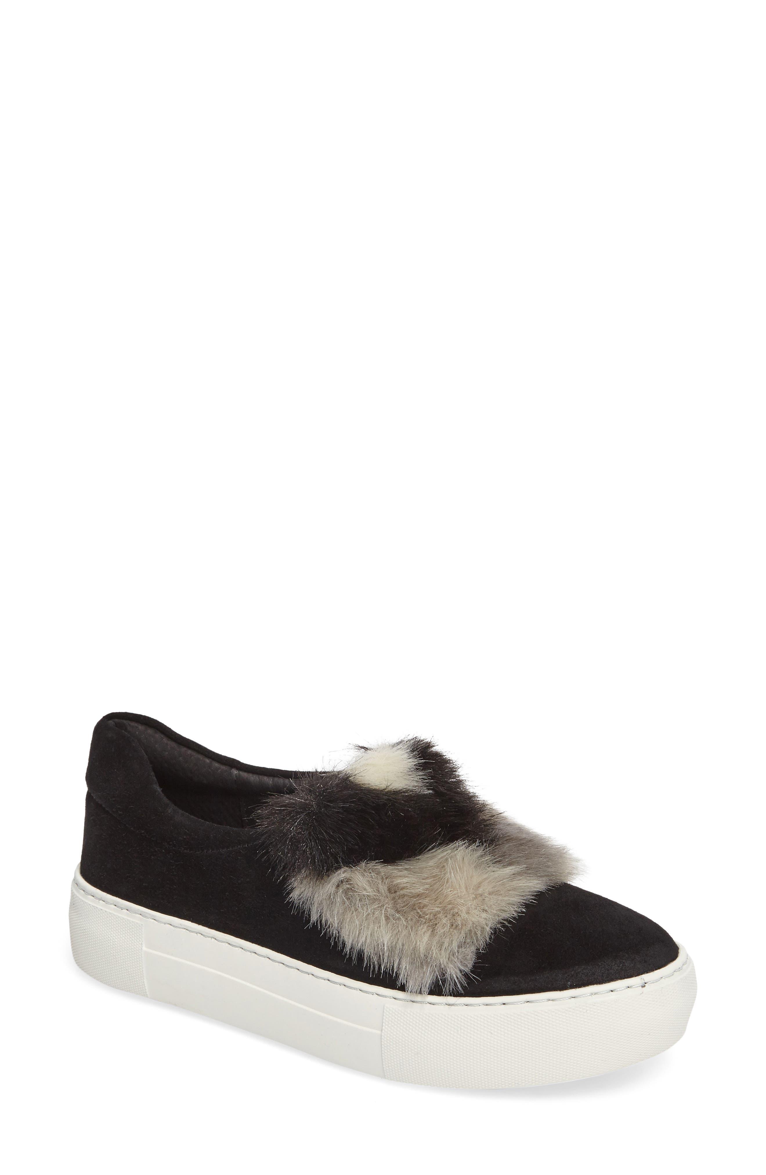 JSLIDES Alexi Faux Fur Slip-On Sneaker, Main, color, 002