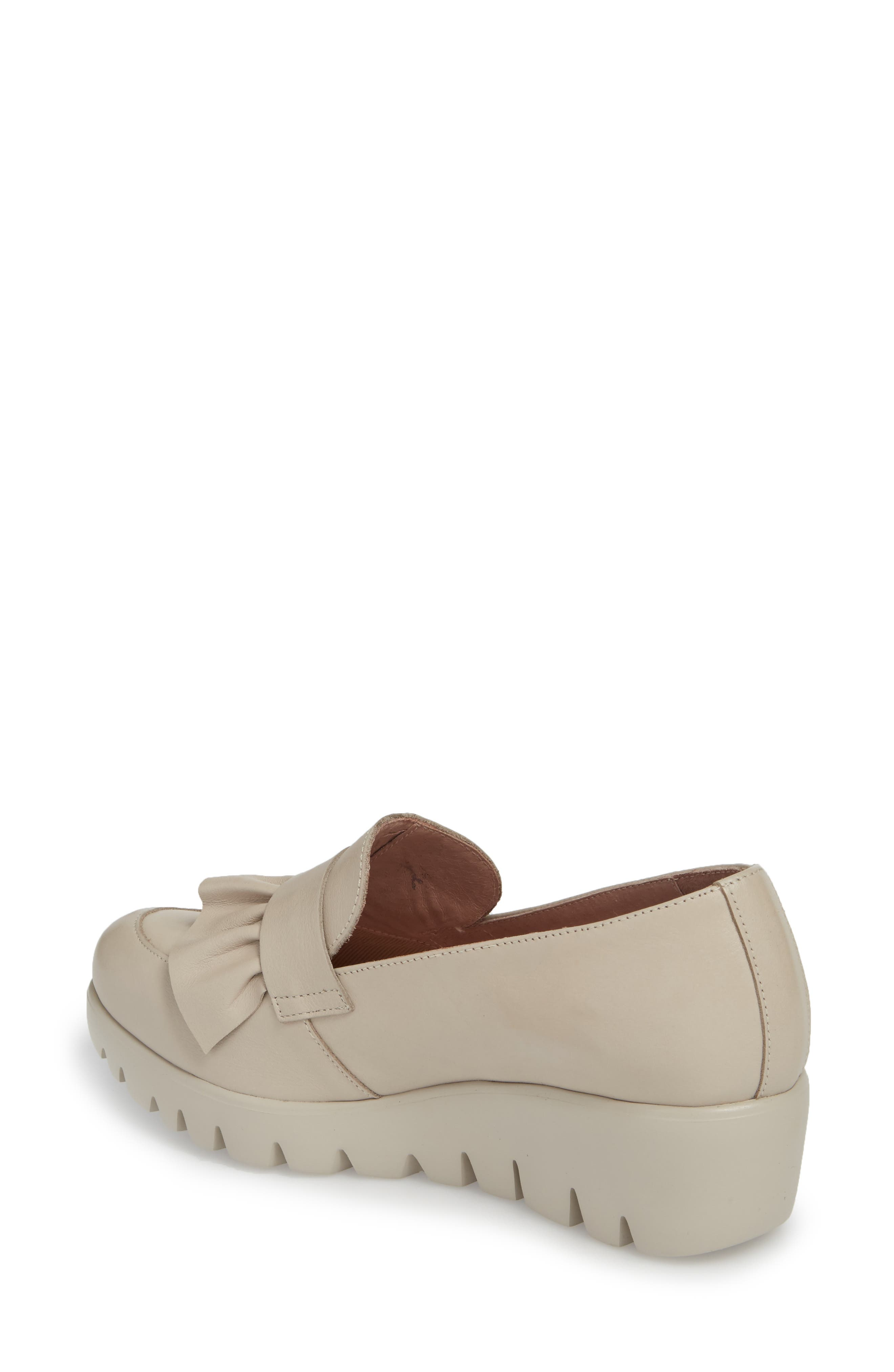 Loafer Wedge,                             Alternate thumbnail 2, color,                             LIGHT GREY LEATHER