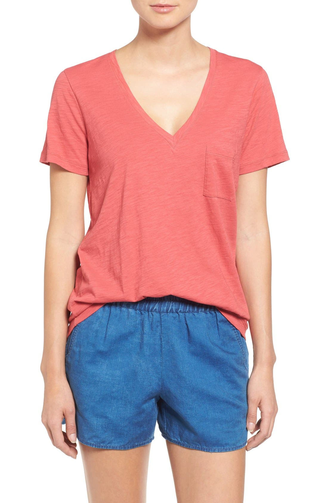 Whisper Cotton V-Neck Pocket Tee,                             Main thumbnail 37, color,
