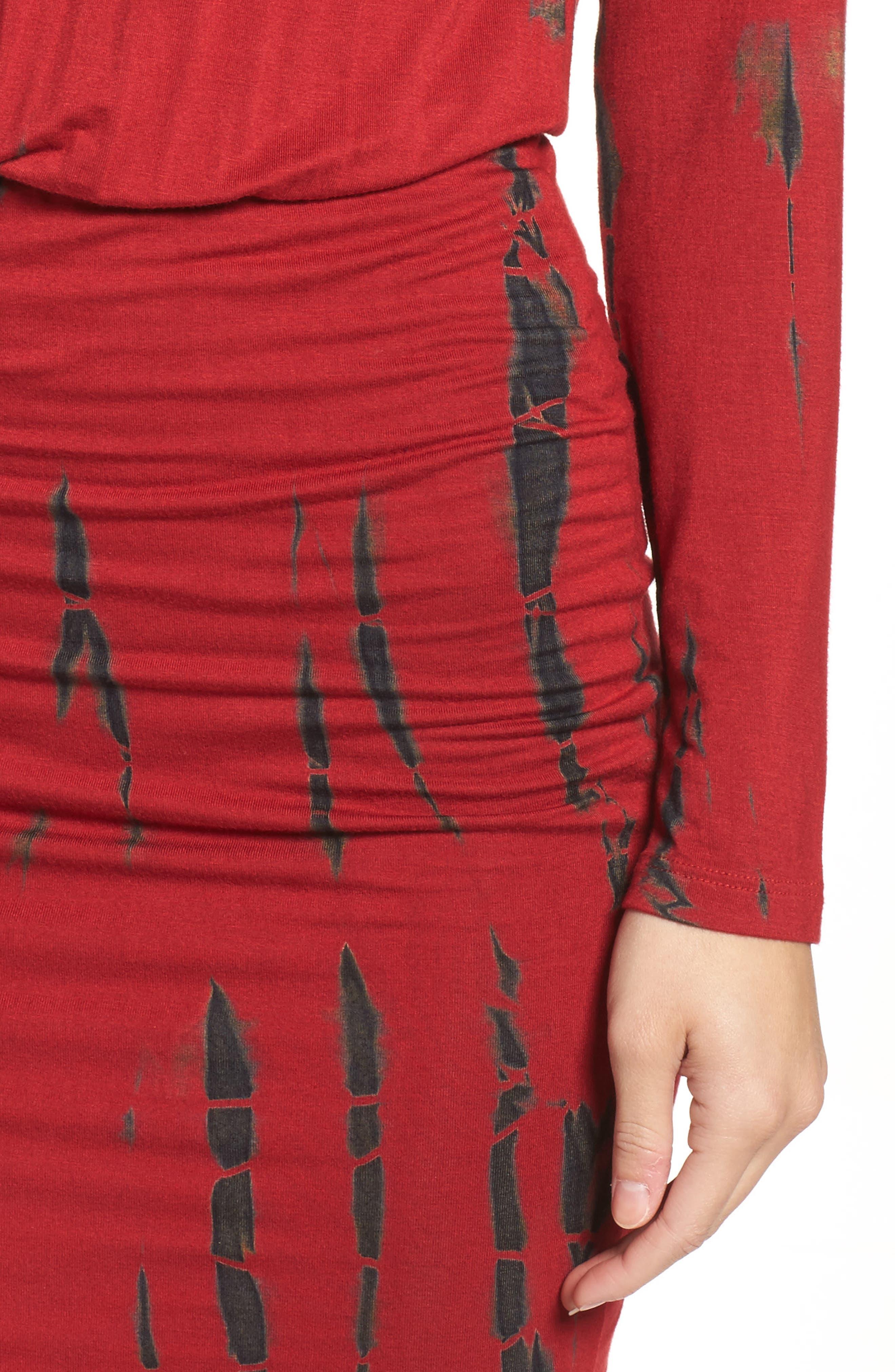 Tie Dye Blouson Midi Dress,                             Alternate thumbnail 4, color,                             WINE BLACK