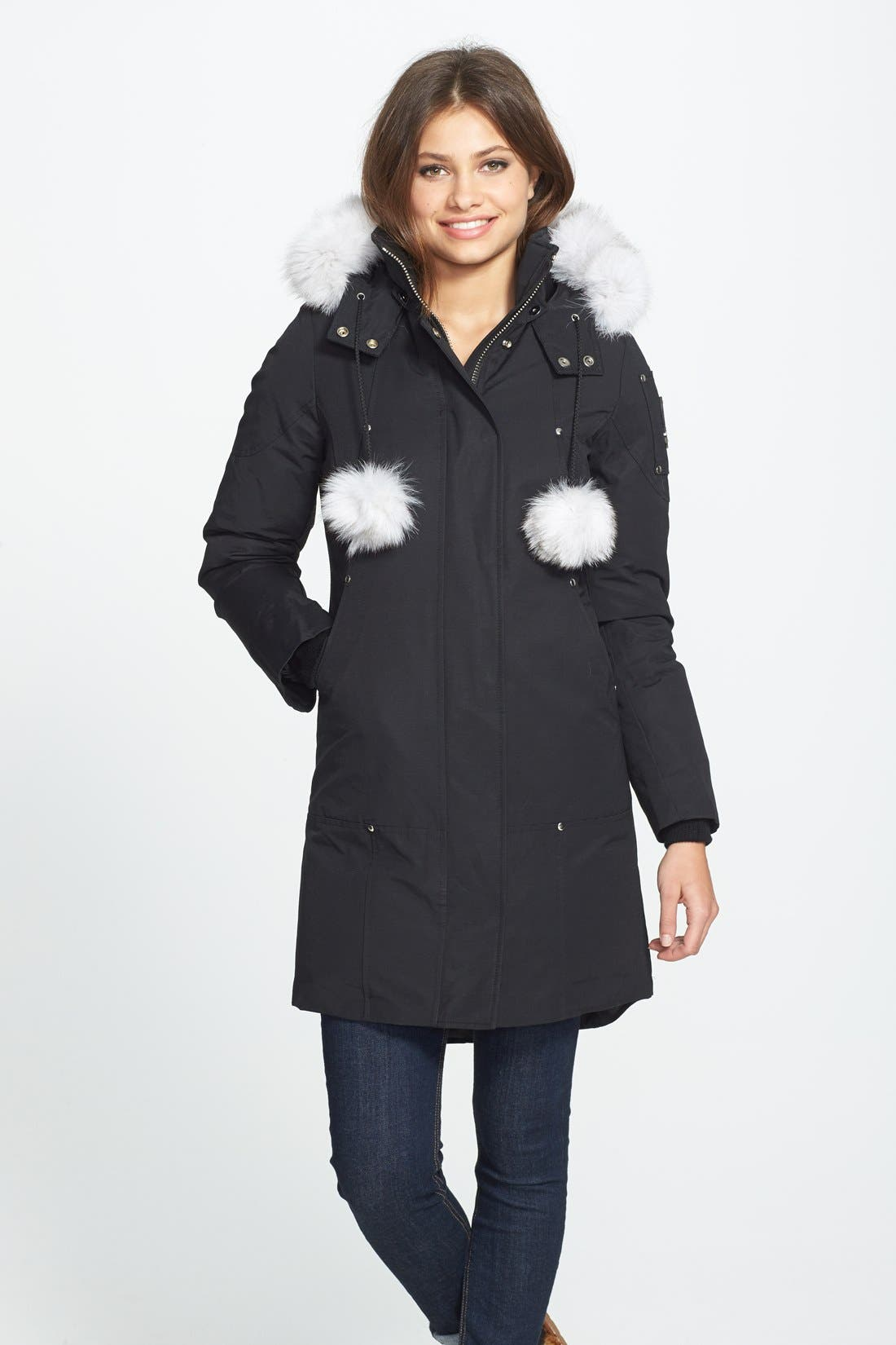 'Stirling' Down Parka with Genuine Fox Fur Trim,                             Main thumbnail 1, color,                             BLACK/ WHITE FUR