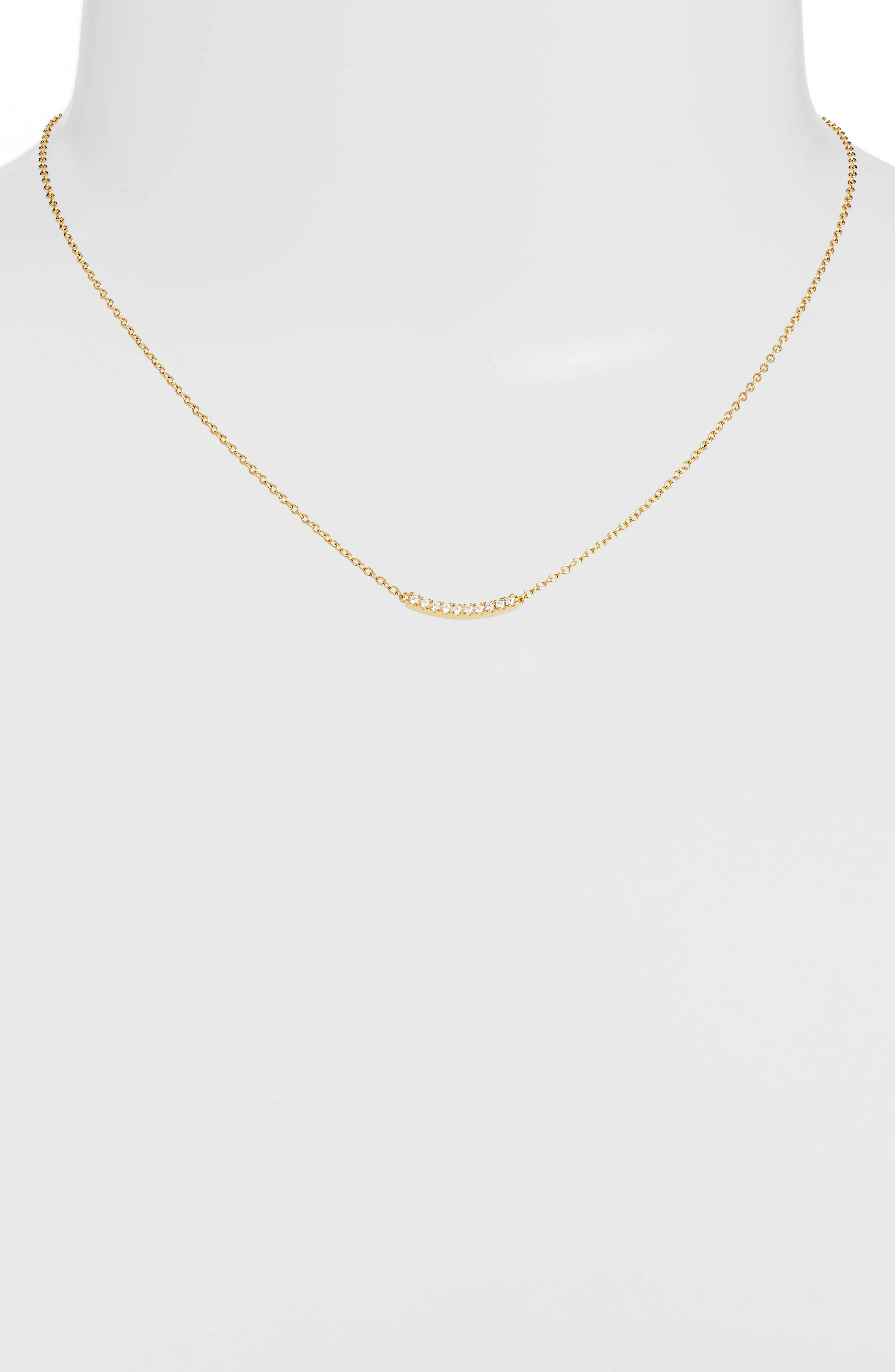 Pavé Curved Bar Pendant Necklace,                             Alternate thumbnail 4, color,