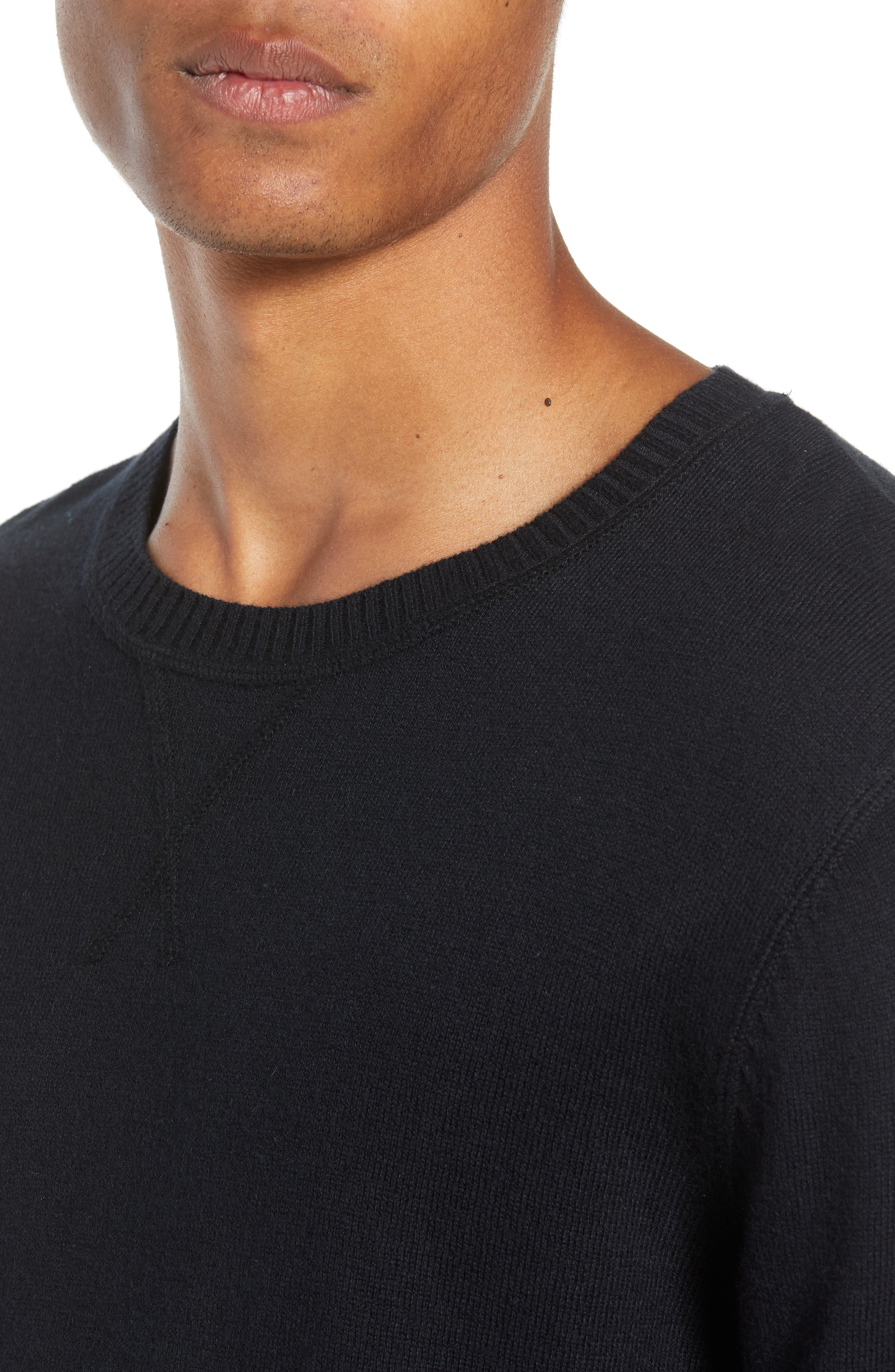 Tournament Slim Fit Crewneck Sweater,                             Alternate thumbnail 4, color,                             BLACK