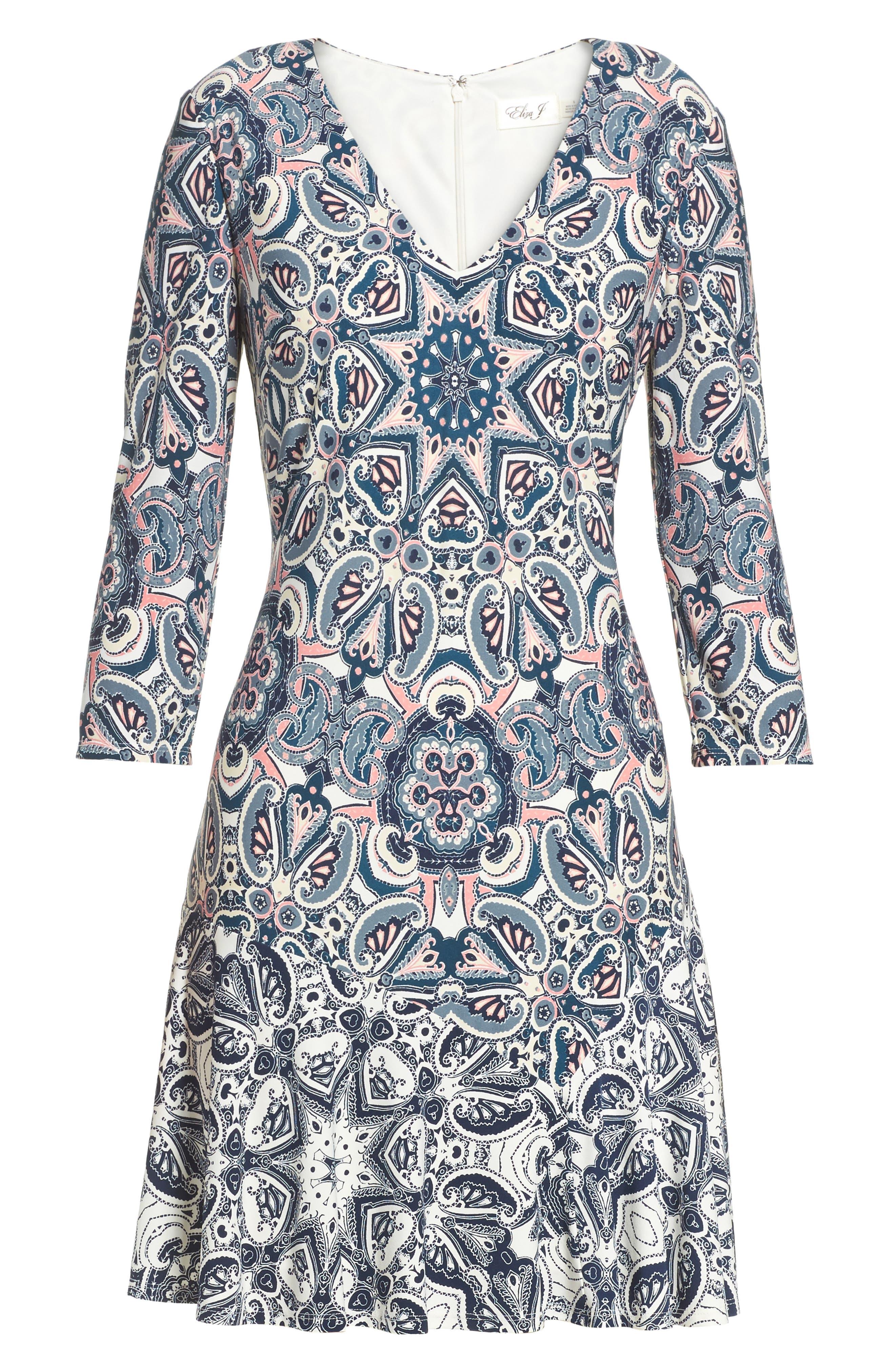ELIZA J,                             Print Knit A-Line Dress,                             Alternate thumbnail 7, color,                             TEAL