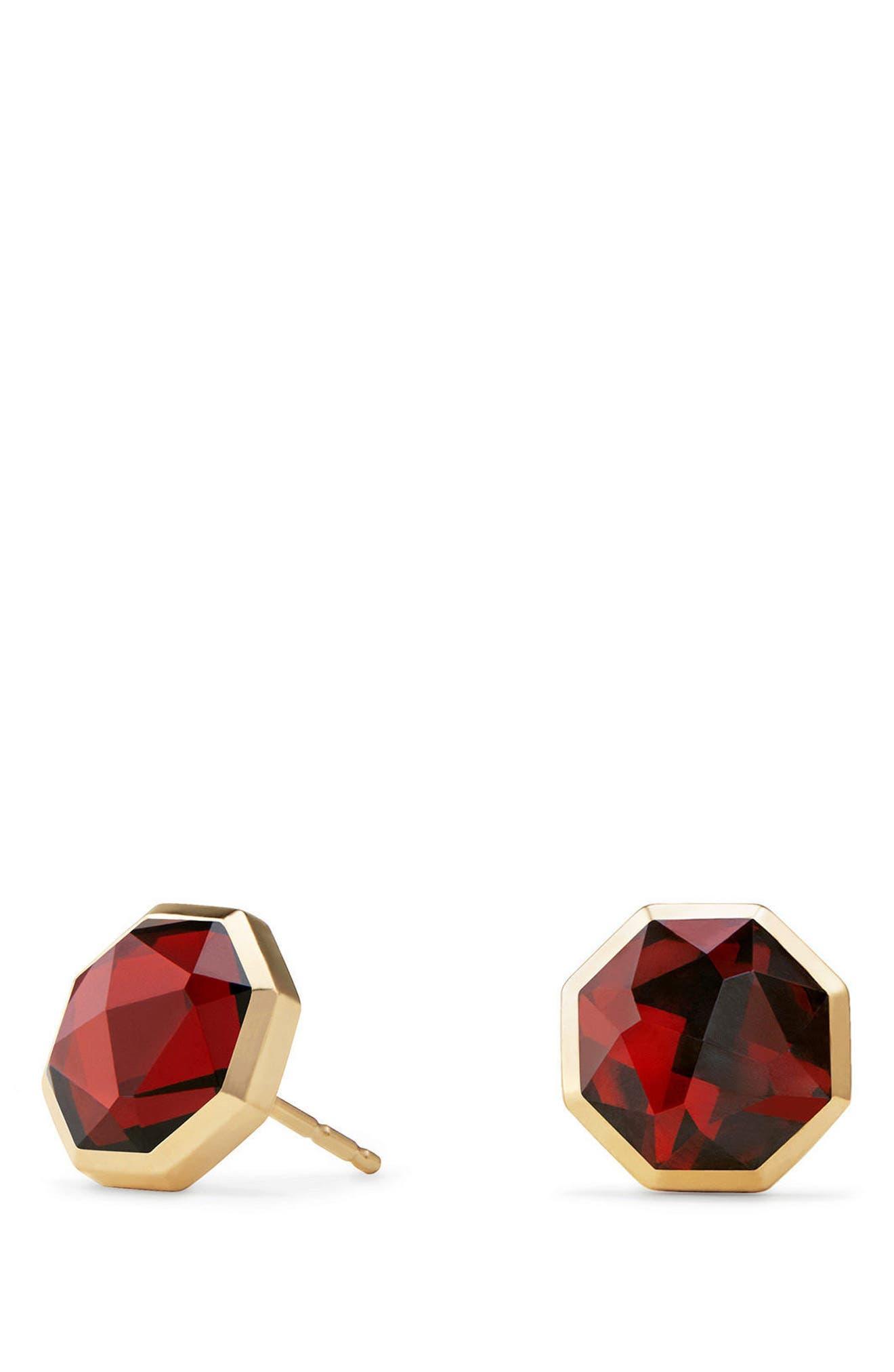 Guilin Octagon Earrings in 18K Gold,                             Main thumbnail 1, color,                             YELLOW GOLD/ GARNET