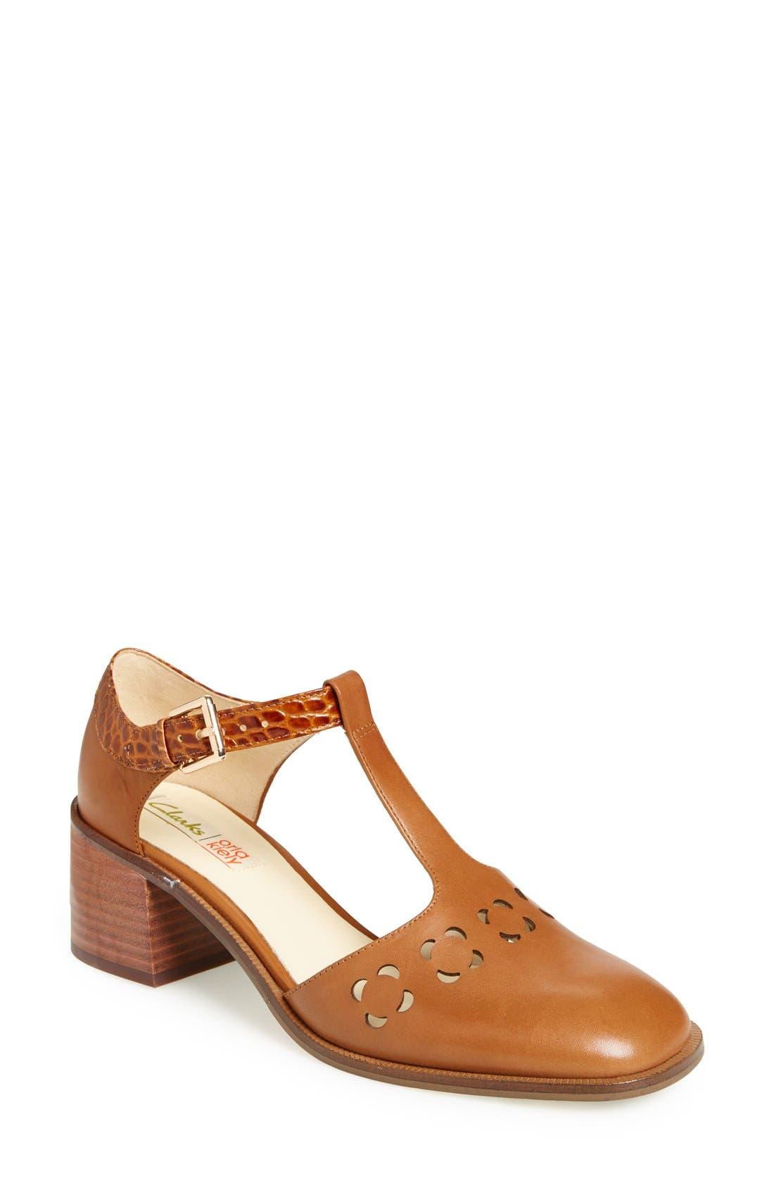 Clarks<sup>®</sup> x Orla Kiely 'Bibi' Leather T-Strap Sandal,                             Main thumbnail 1, color,                             200