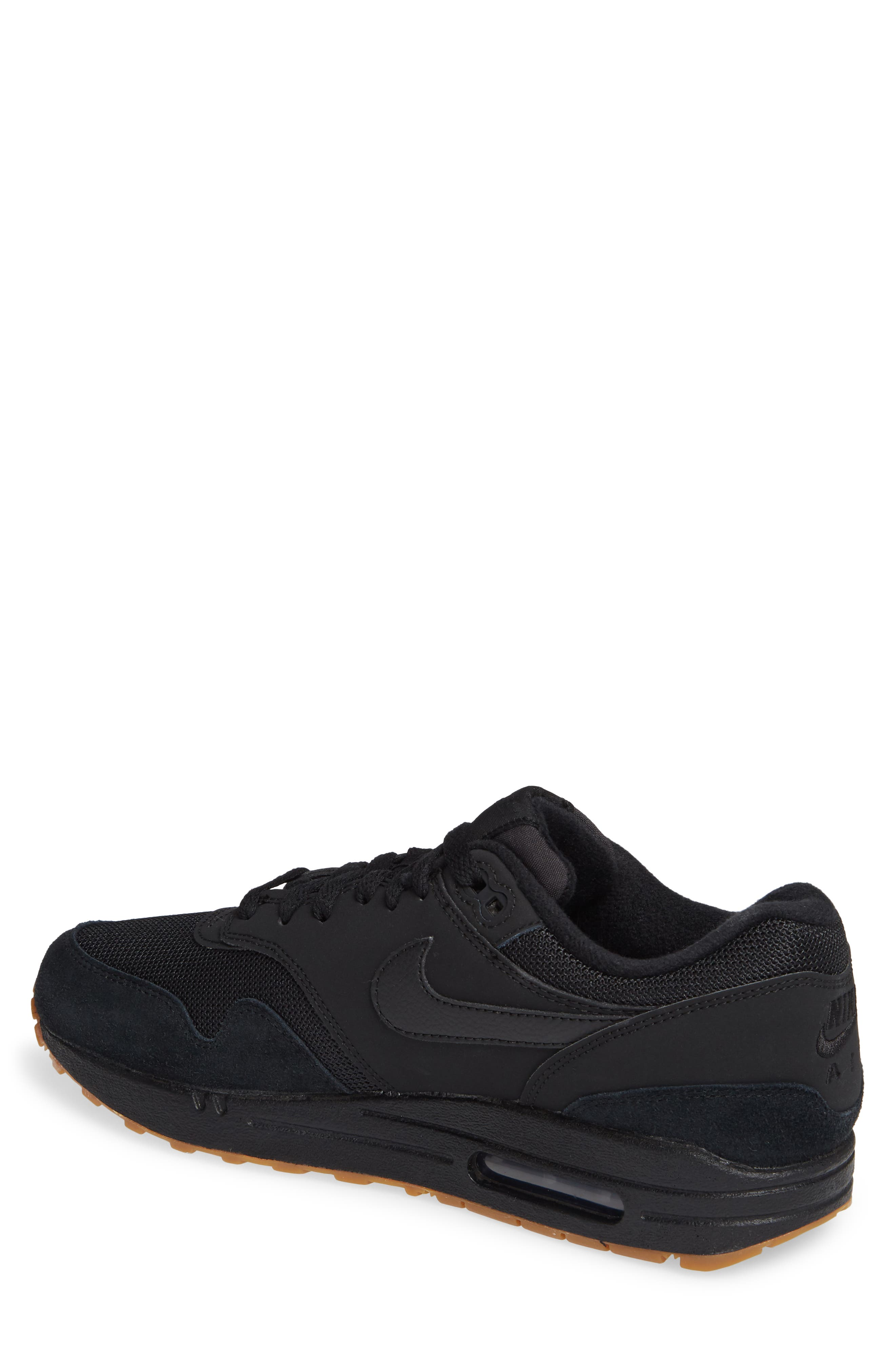 Air Max 1 Sneaker,                             Alternate thumbnail 2, color,                             BLACK/ BLACK/ GUM MEDIUM BROWN
