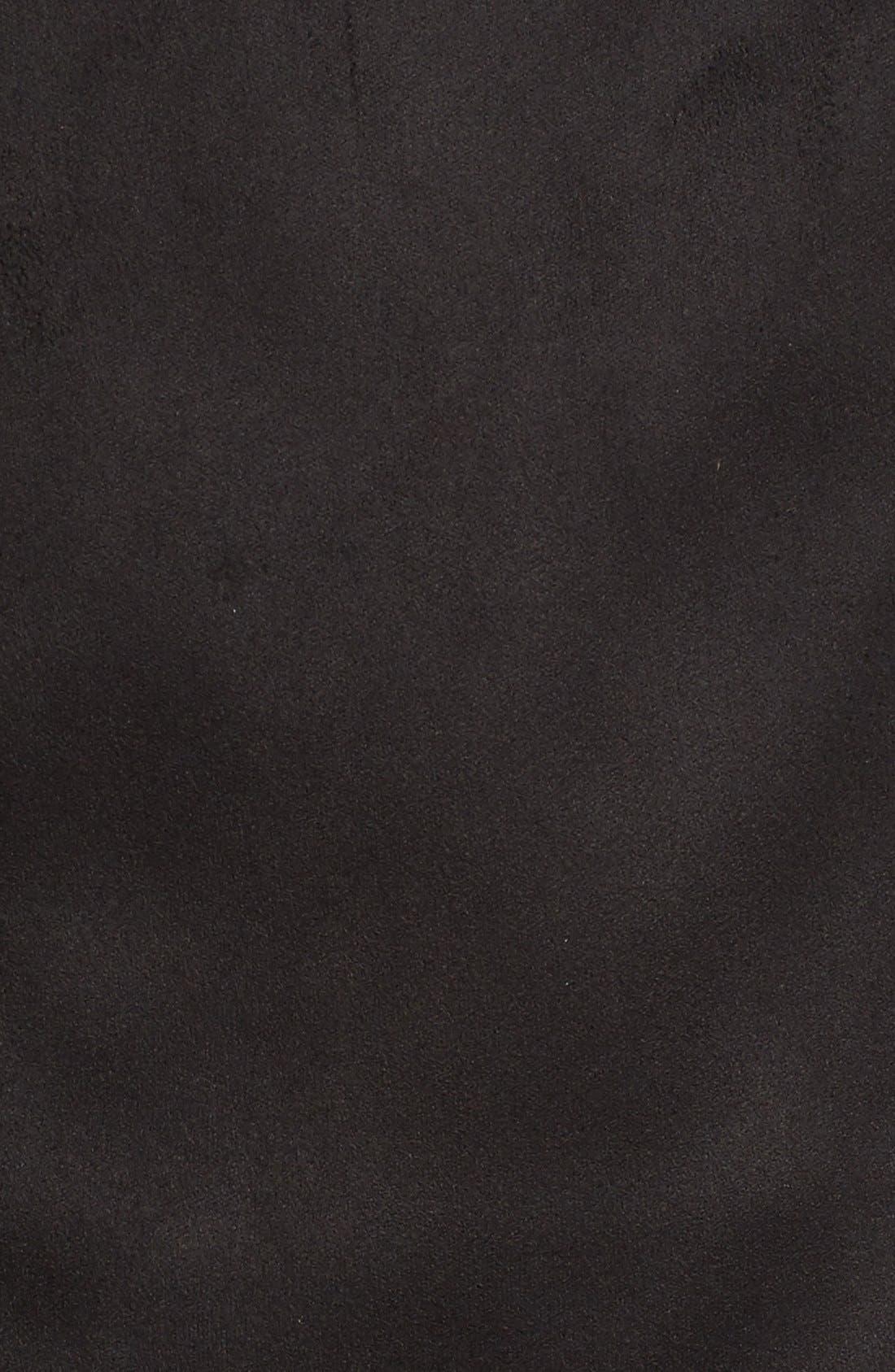 Faux Suede Moto Jacket,                             Alternate thumbnail 5, color,                             001