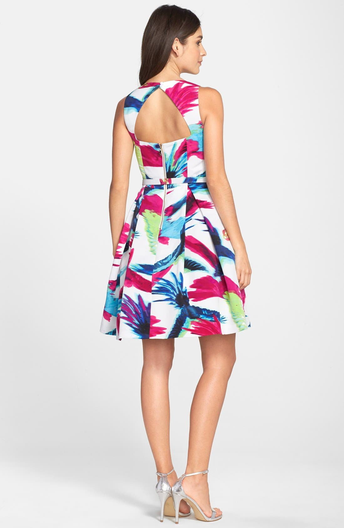 Belted Floral Print Fit & Flare Dress,                             Alternate thumbnail 4, color,                             660