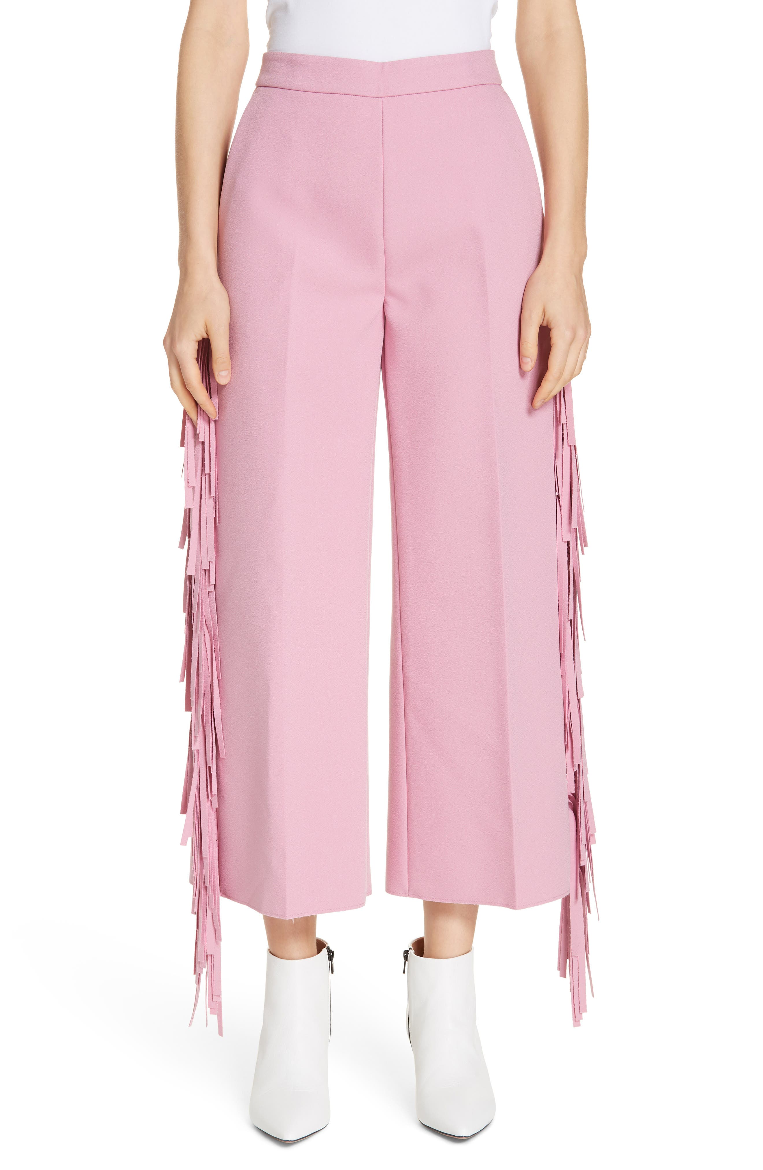 Fringe Trim Crop Pants in Knit Pink/ Line Red/ Black