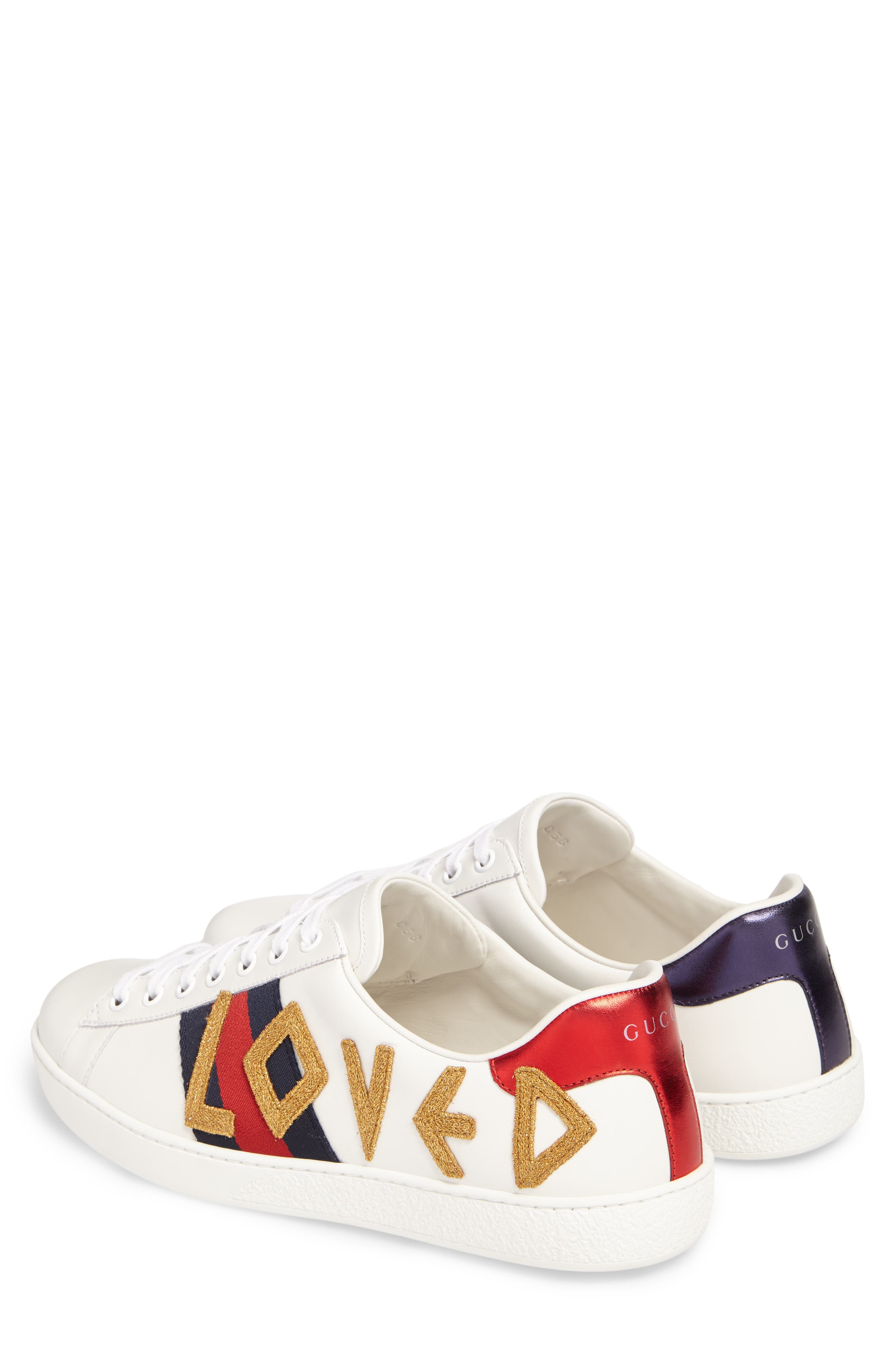 New Ace Embroidered Sneaker,                             Alternate thumbnail 2, color,                             WHITE
