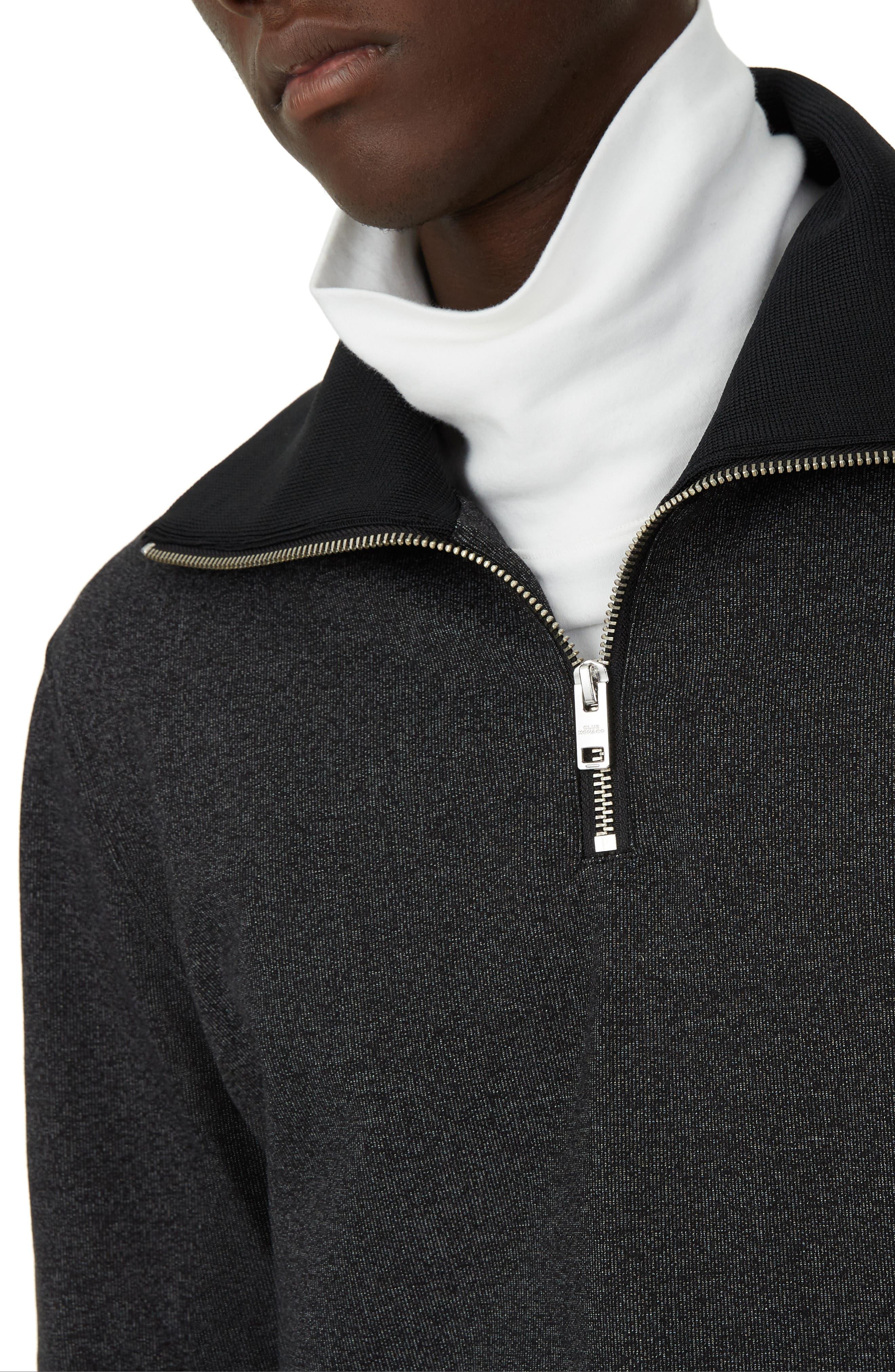 Trim Fit Quarter Zip Pullover,                             Alternate thumbnail 3, color,                             GREY