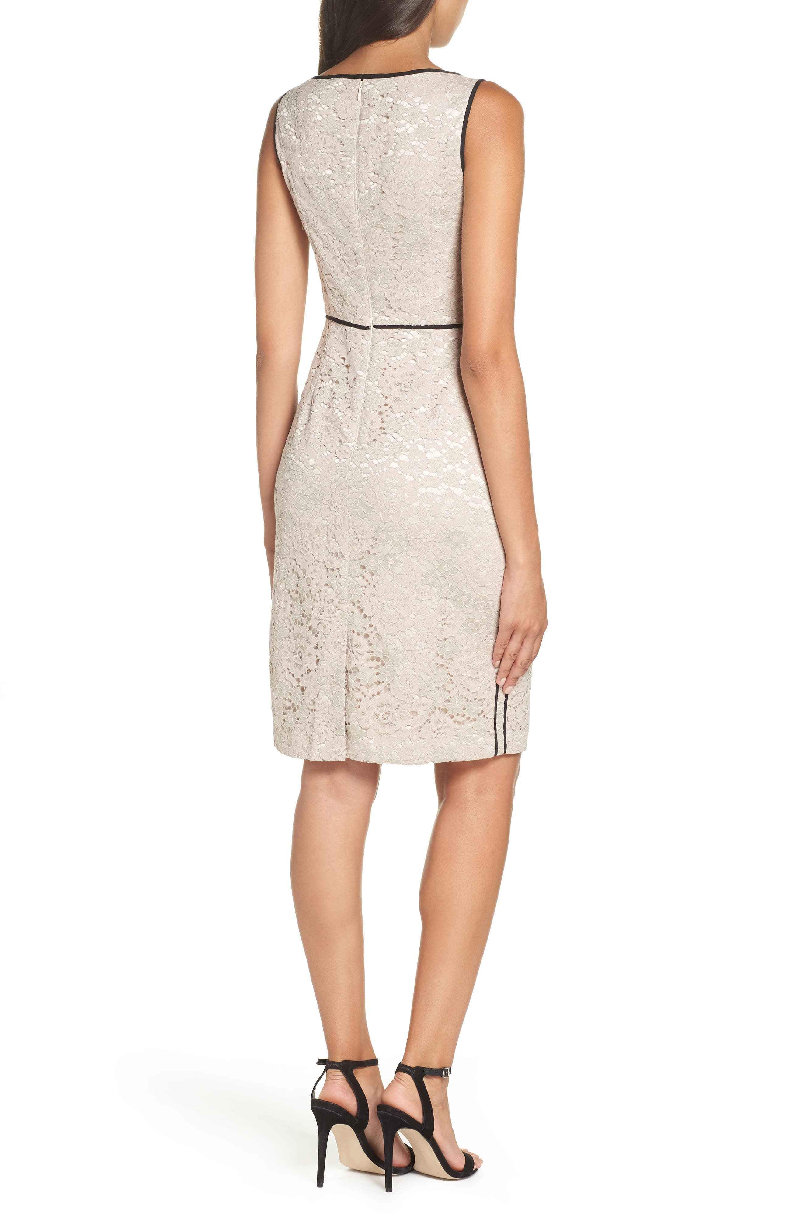 Piped Lace Sheath Dress,                             Alternate thumbnail 2, color,                             256