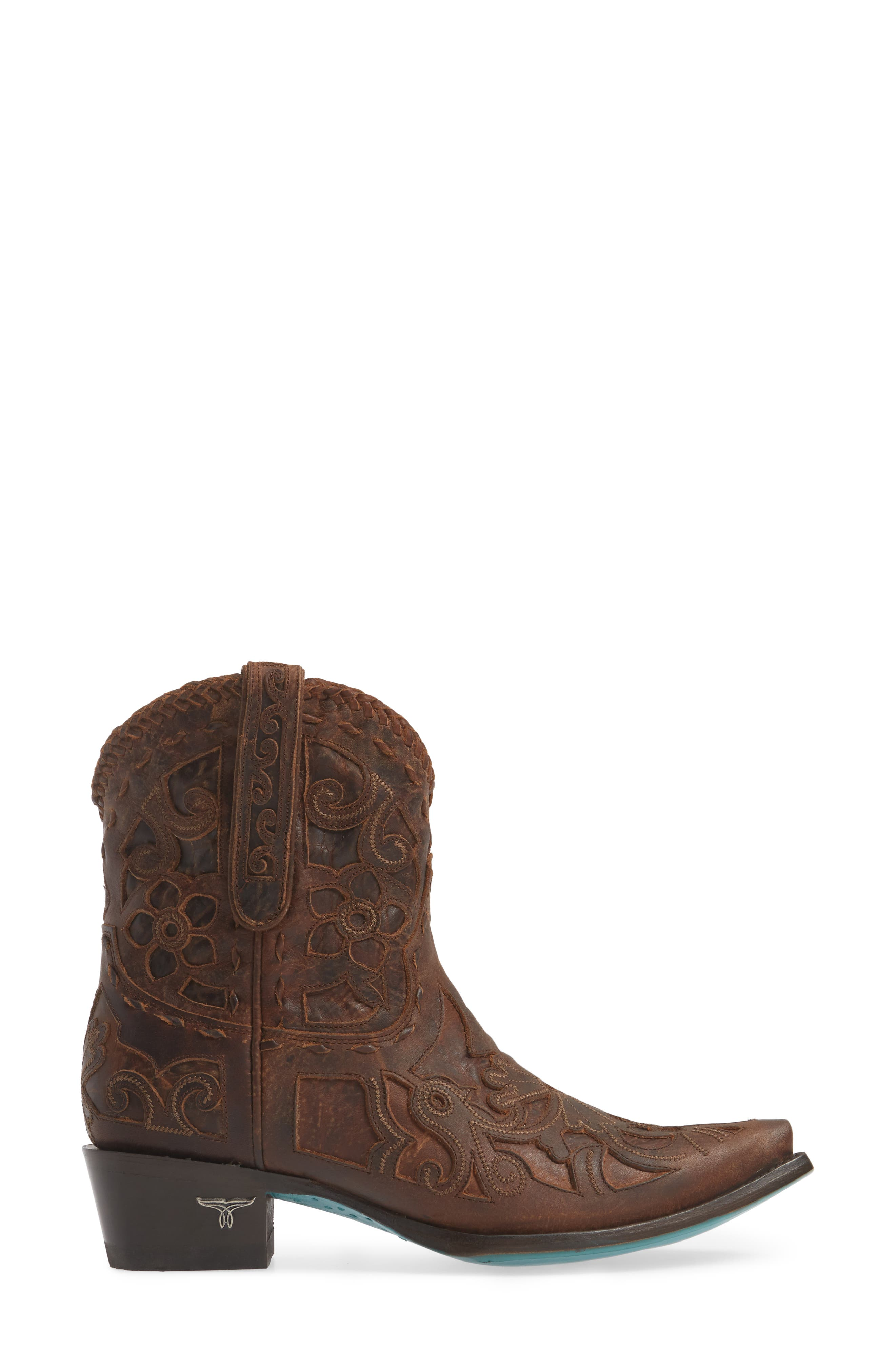 LANE BOOTS,                             Robin Western Boot,                             Alternate thumbnail 3, color,                             DARK BROWN LEATHER