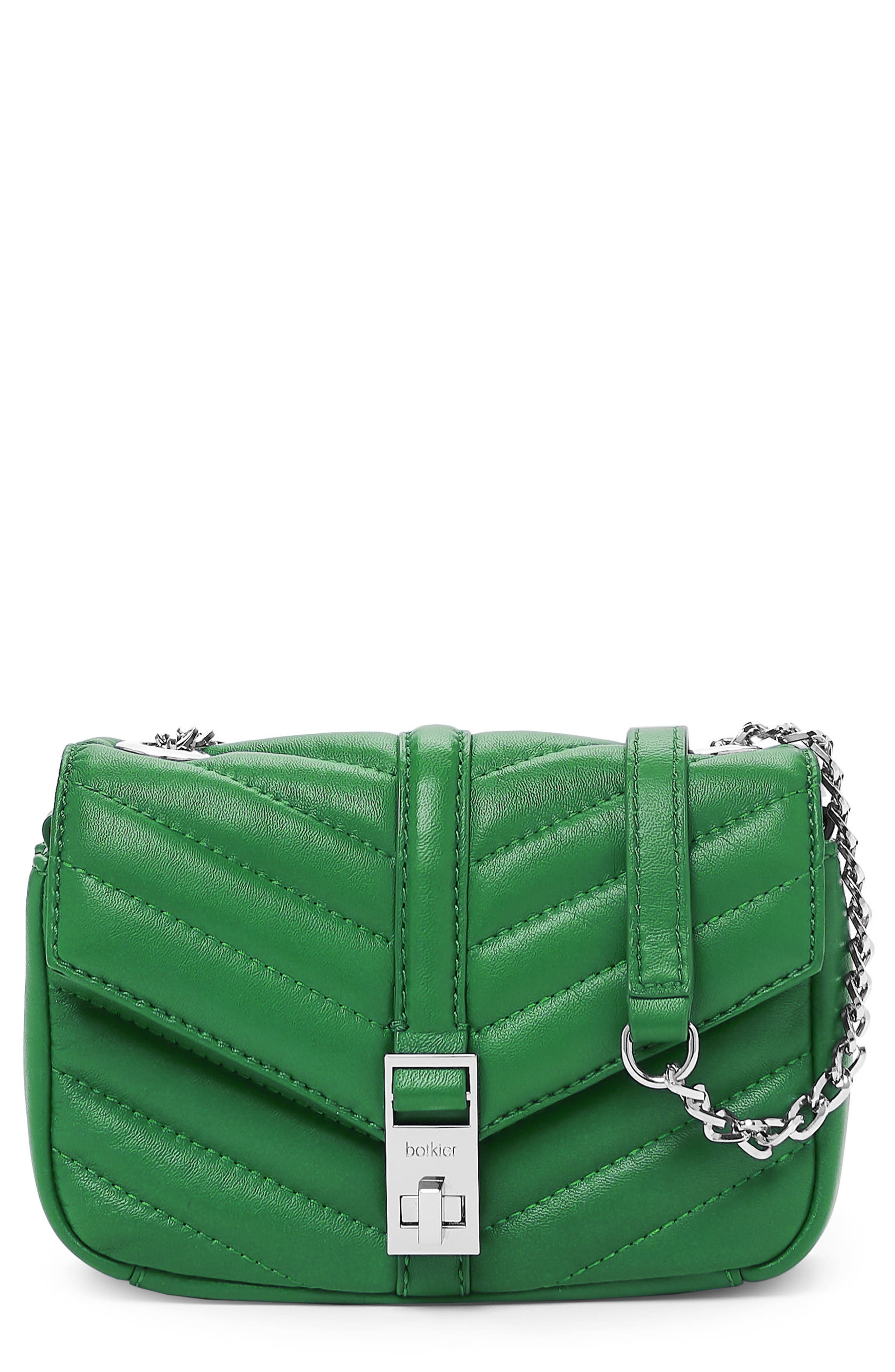 Dakota Quilted Leather Crossbody Bag,                         Main,                         color, GREEN
