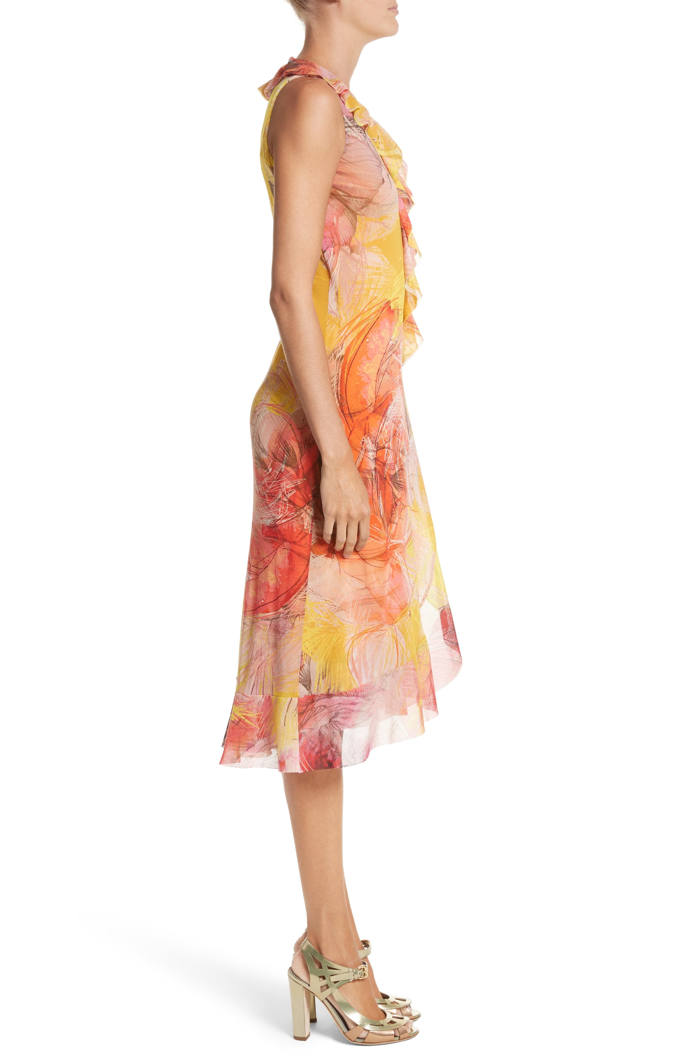 Print Tulle Ruffle Wrap Dress,                             Alternate thumbnail 3, color,                             723