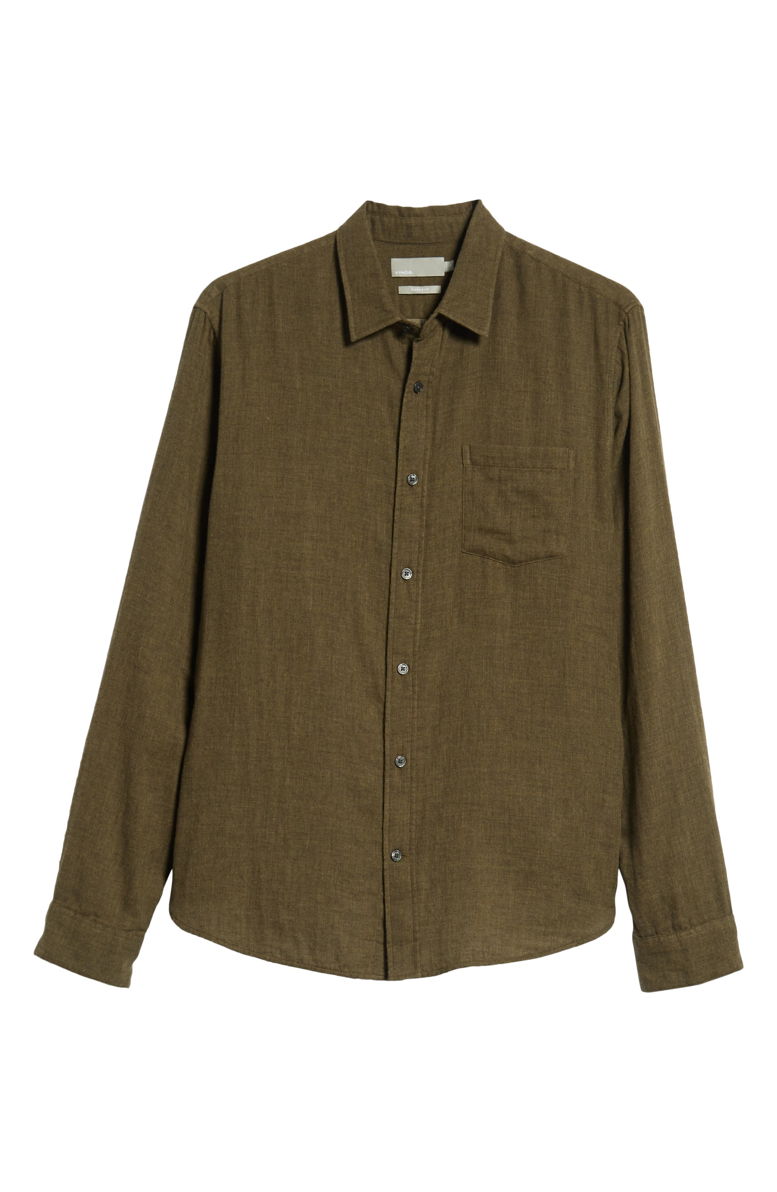 Classic Fit Double Knit Sport Shirt,                             Alternate thumbnail 5, color,                             H OLIVE