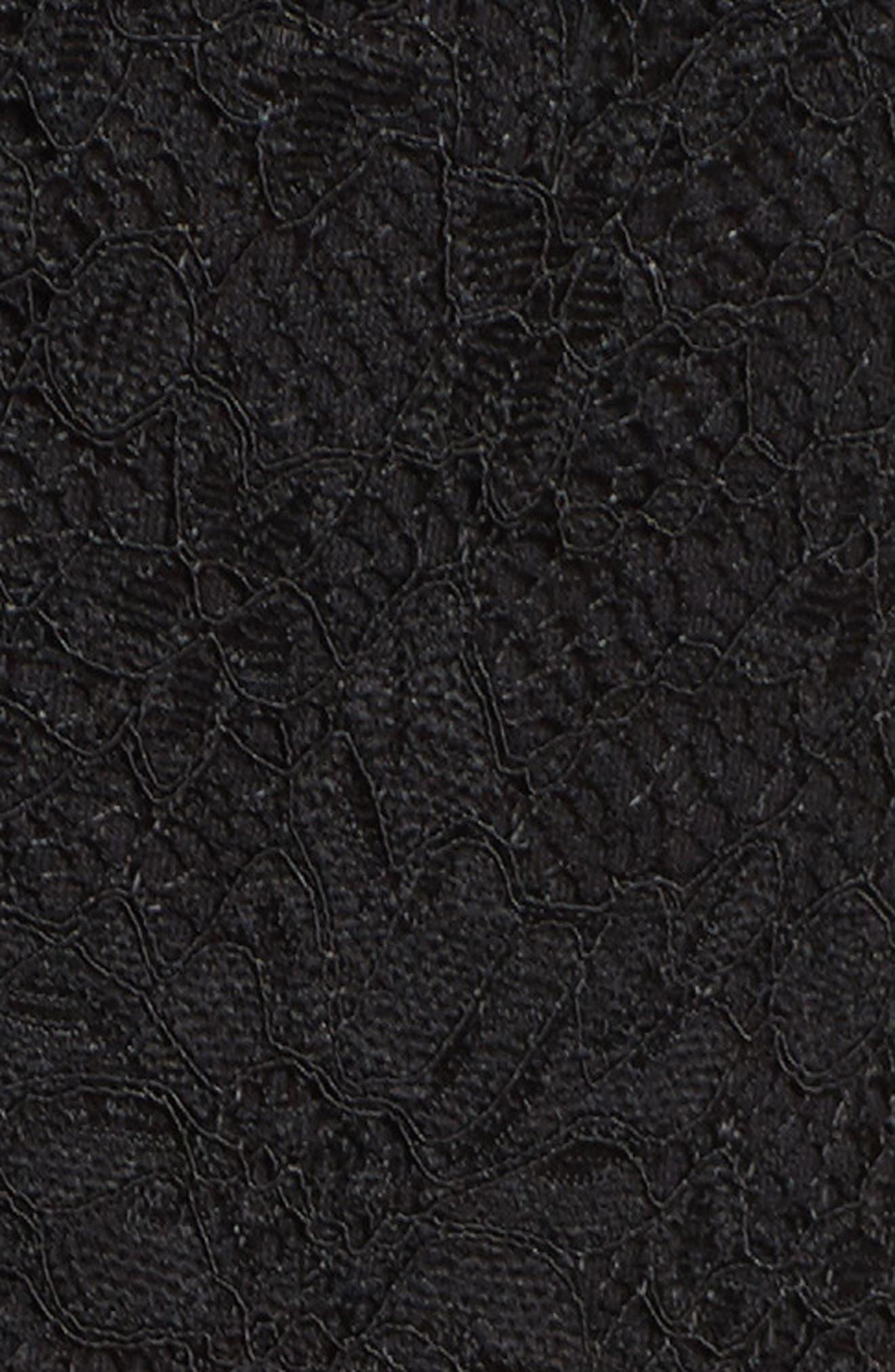 Crepe & Lace Jumpsuit,                             Alternate thumbnail 5, color,                             BLACK