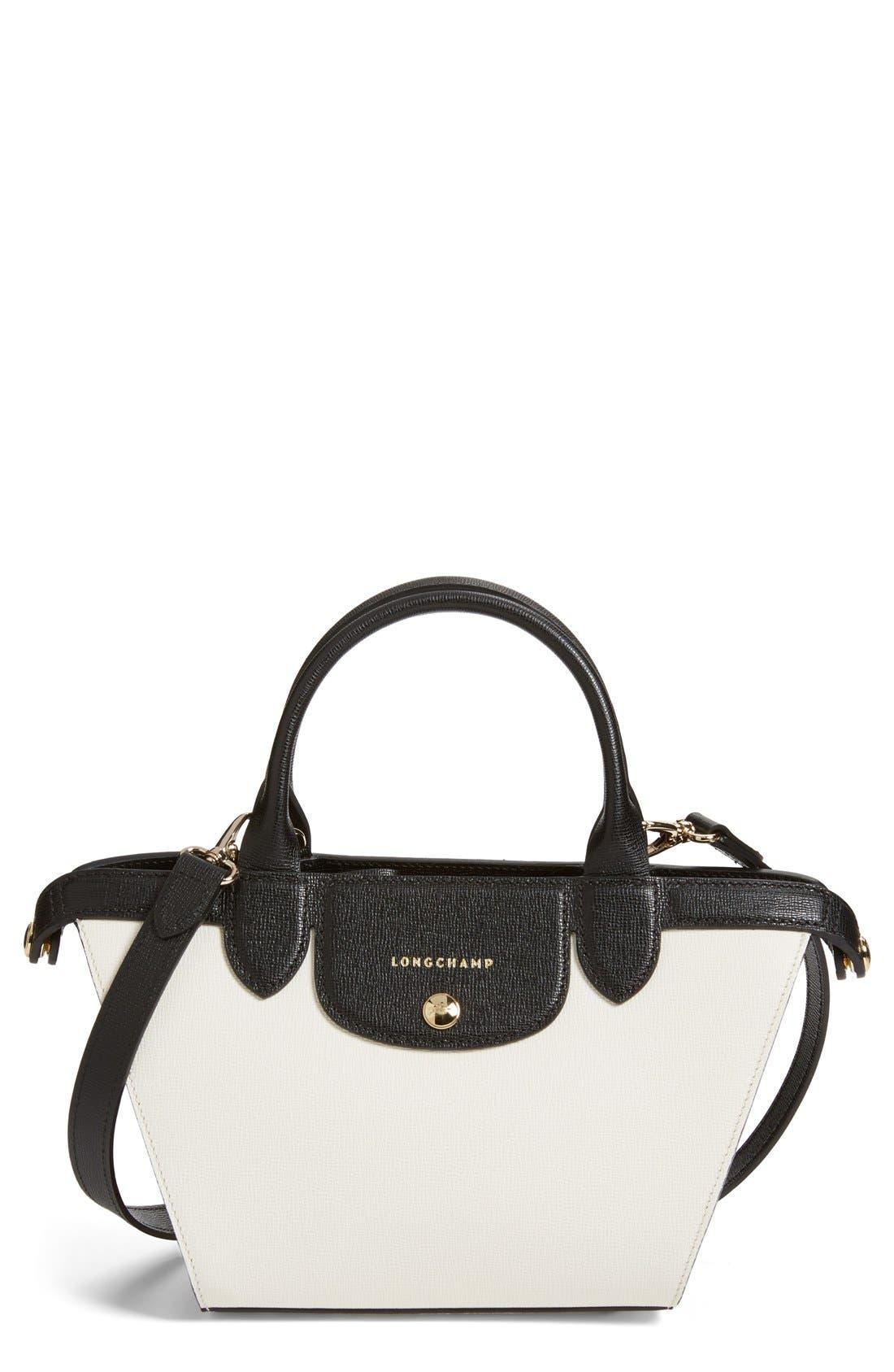 'Small Le Pliage - Heritage' Leather Handbag, Main, color, 100