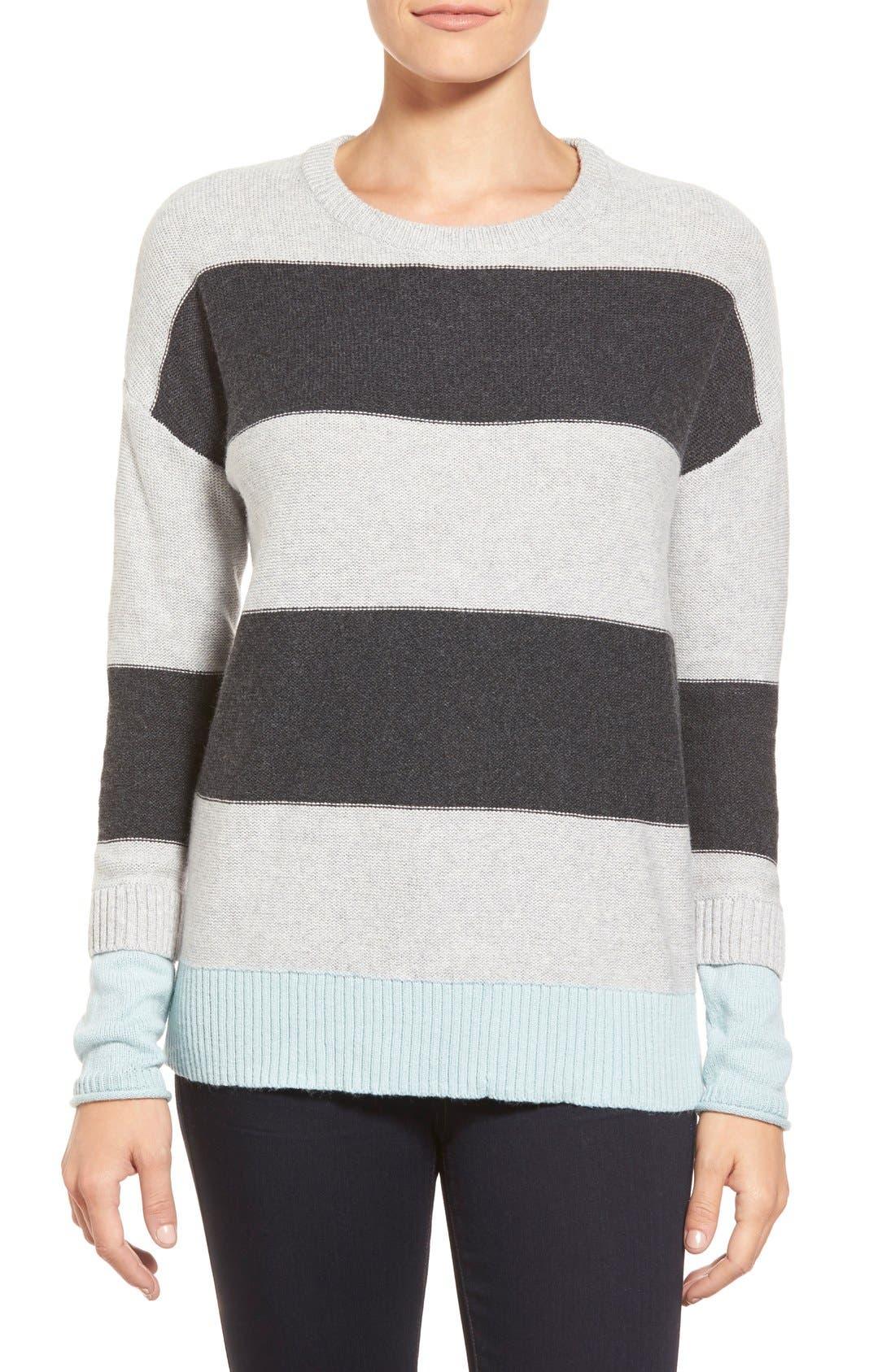 Contrast Cuff Crewneck Sweater,                             Main thumbnail 5, color,