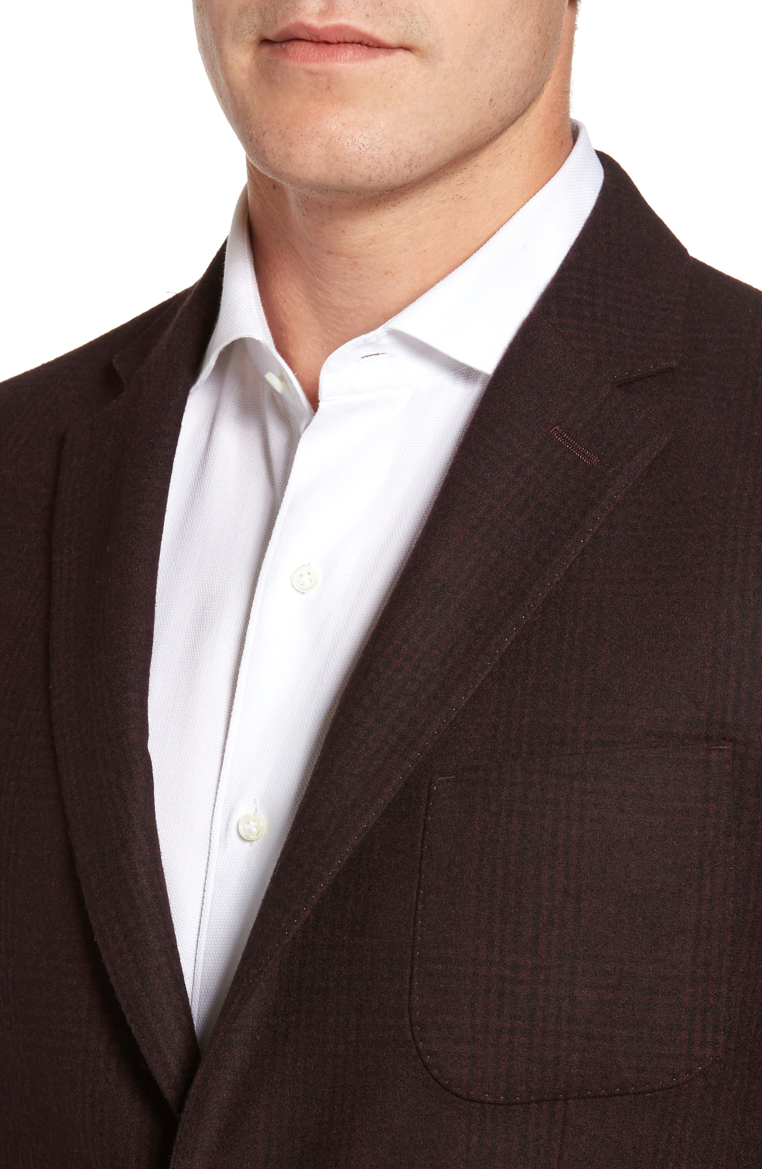 Classic Fit Plaid Merino Wool Jersey Sport Coat,                             Alternate thumbnail 4, color,                             930