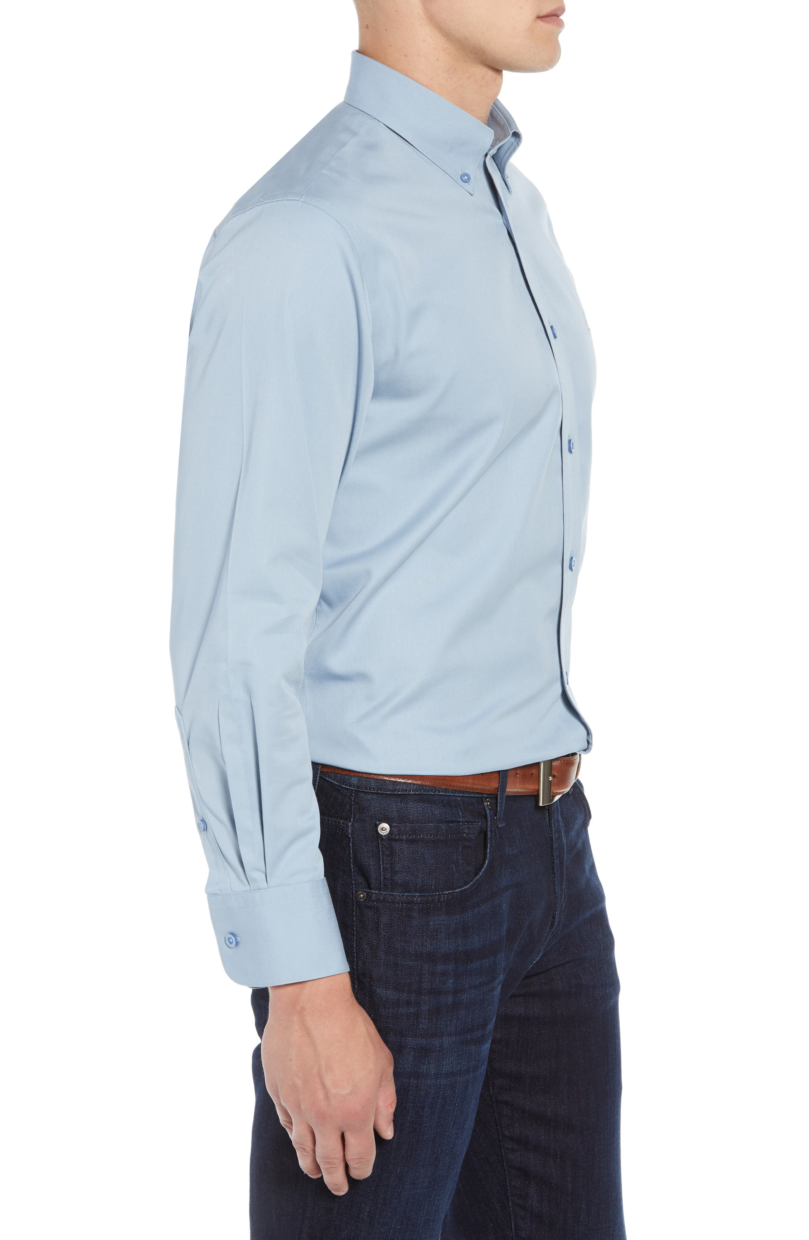 NORDSTROM MEN'S SHOP,                             Smartcare<sup>™</sup> Traditional Fit Twill Boat Shirt,                             Alternate thumbnail 3, color,                             BLUE DRIZZLE