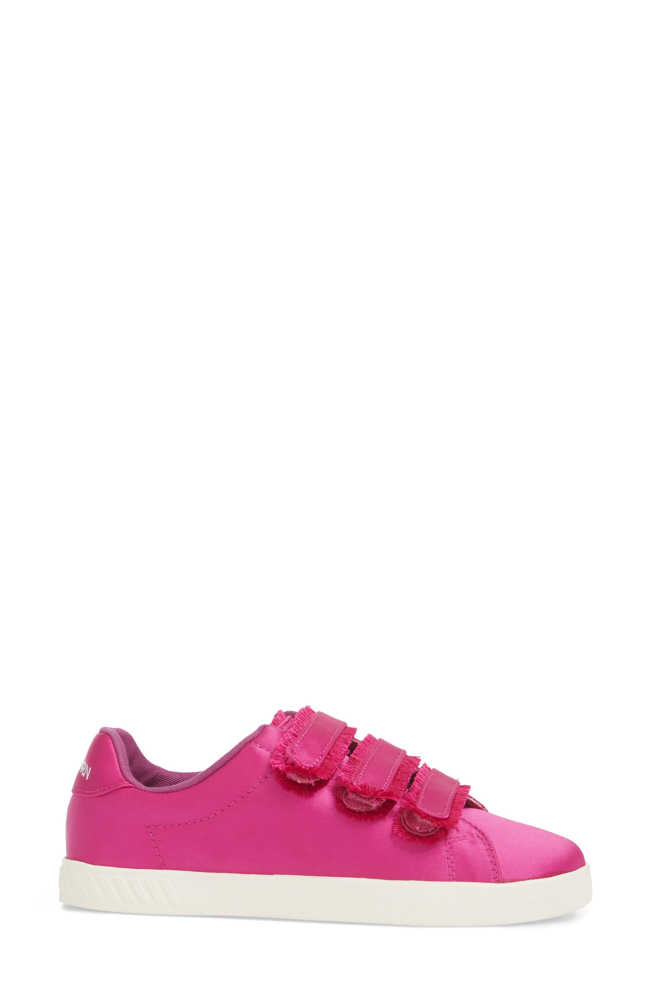 Fringed Strap Sneaker,                             Alternate thumbnail 3, color,                             FUCHSIA SATIN