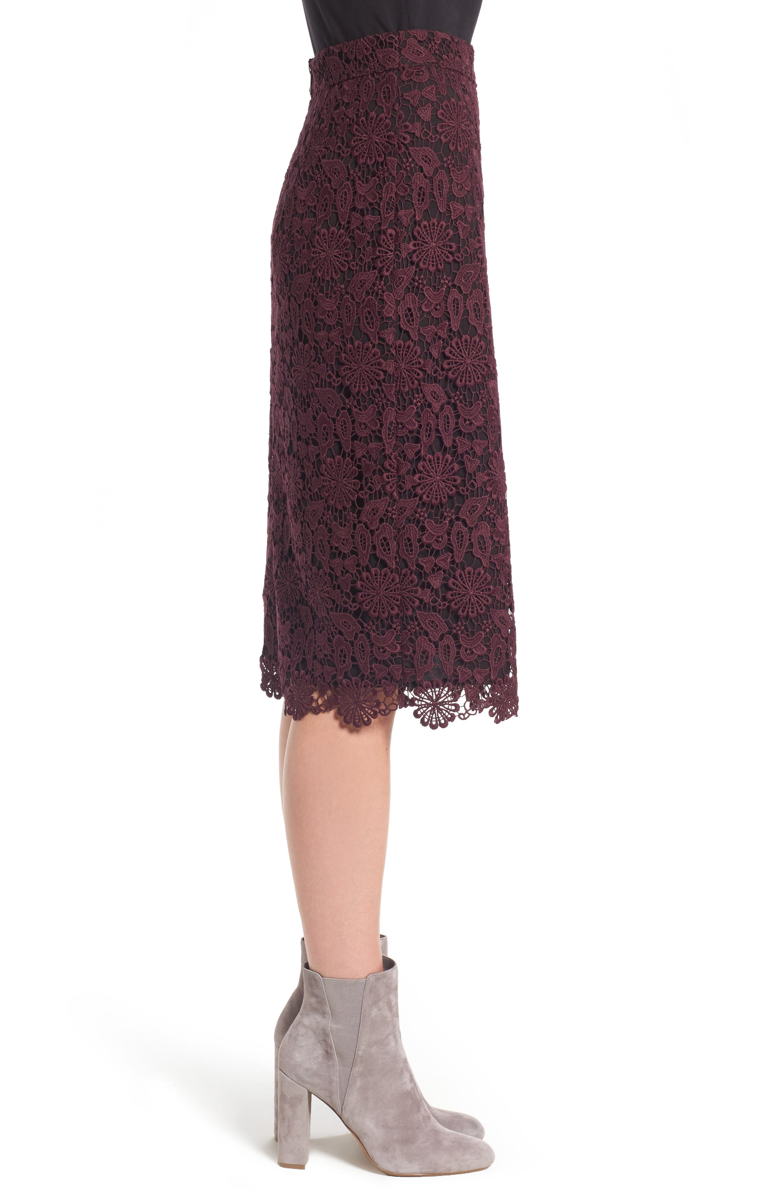 Lace Pencil Skirt,                             Alternate thumbnail 3, color,                             930