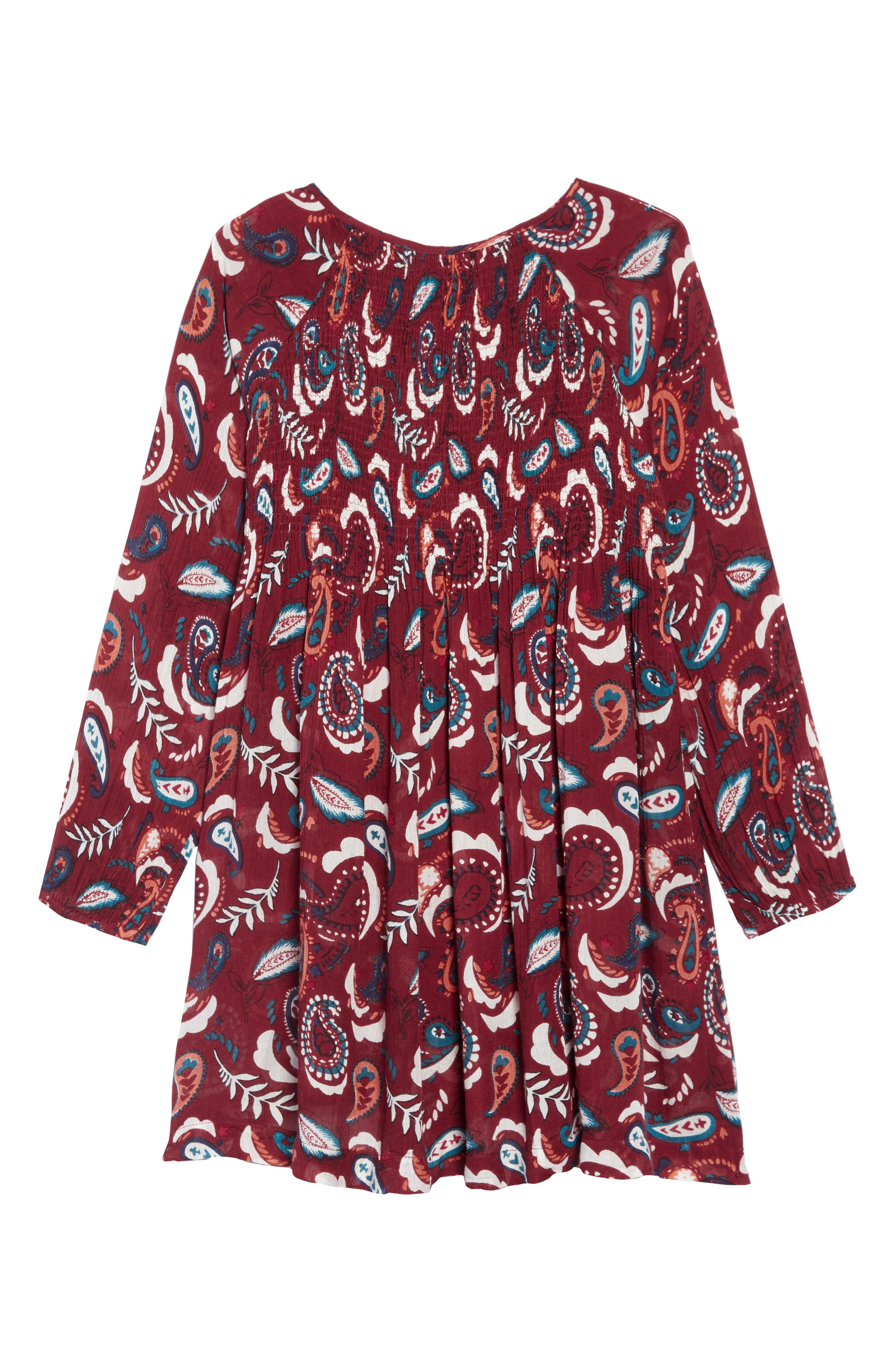 Everly Smocked Dress,                             Alternate thumbnail 2, color,                             RUST