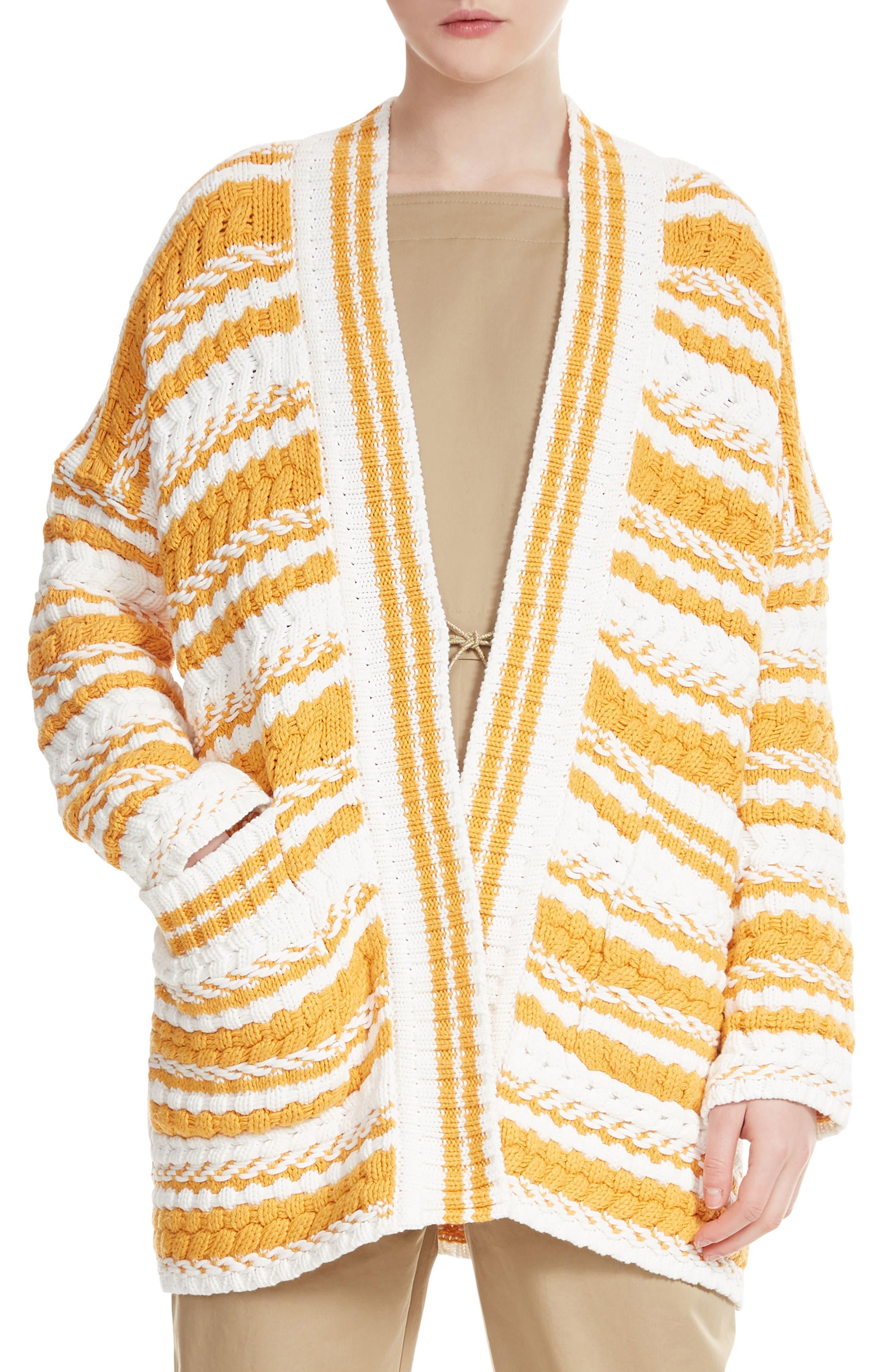 Milio Chunky Stripe Cotton Blend Cardigan,                             Main thumbnail 1, color,                             900