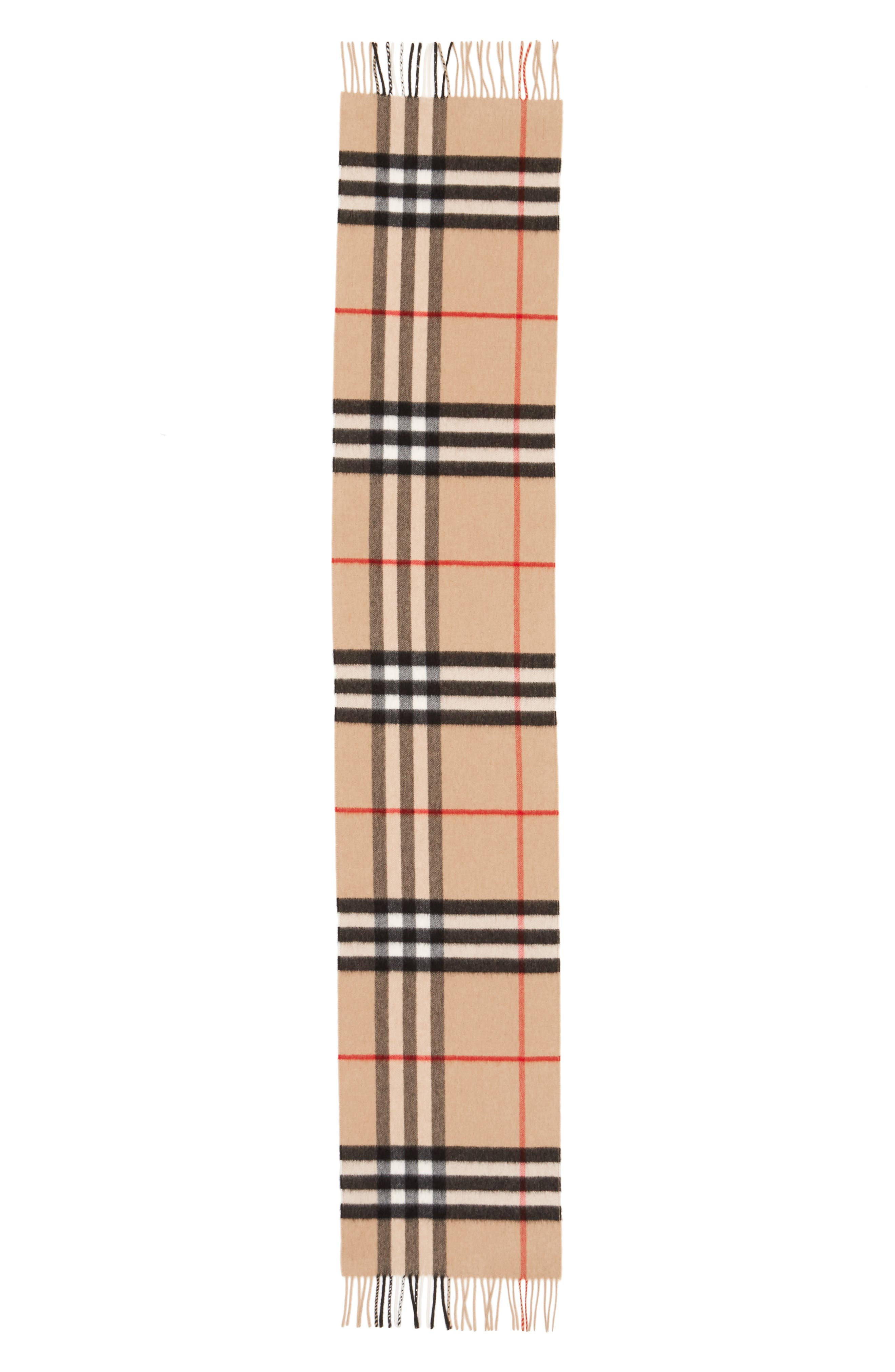 Heritage Giant Check Fringed Cashmere Muffler,                             Alternate thumbnail 2, color,                             CLASSIC