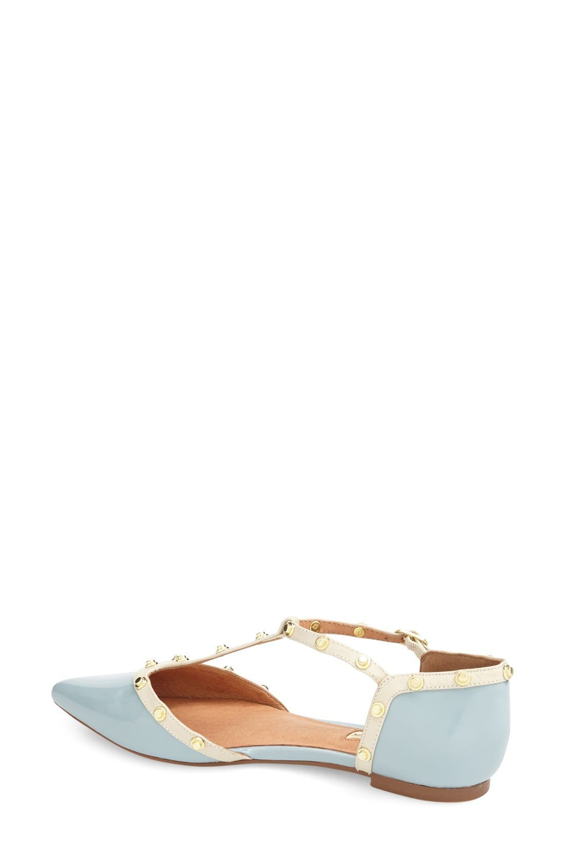 'Olson' Pointy Toe Studded T-Strap Flat,                             Alternate thumbnail 29, color,