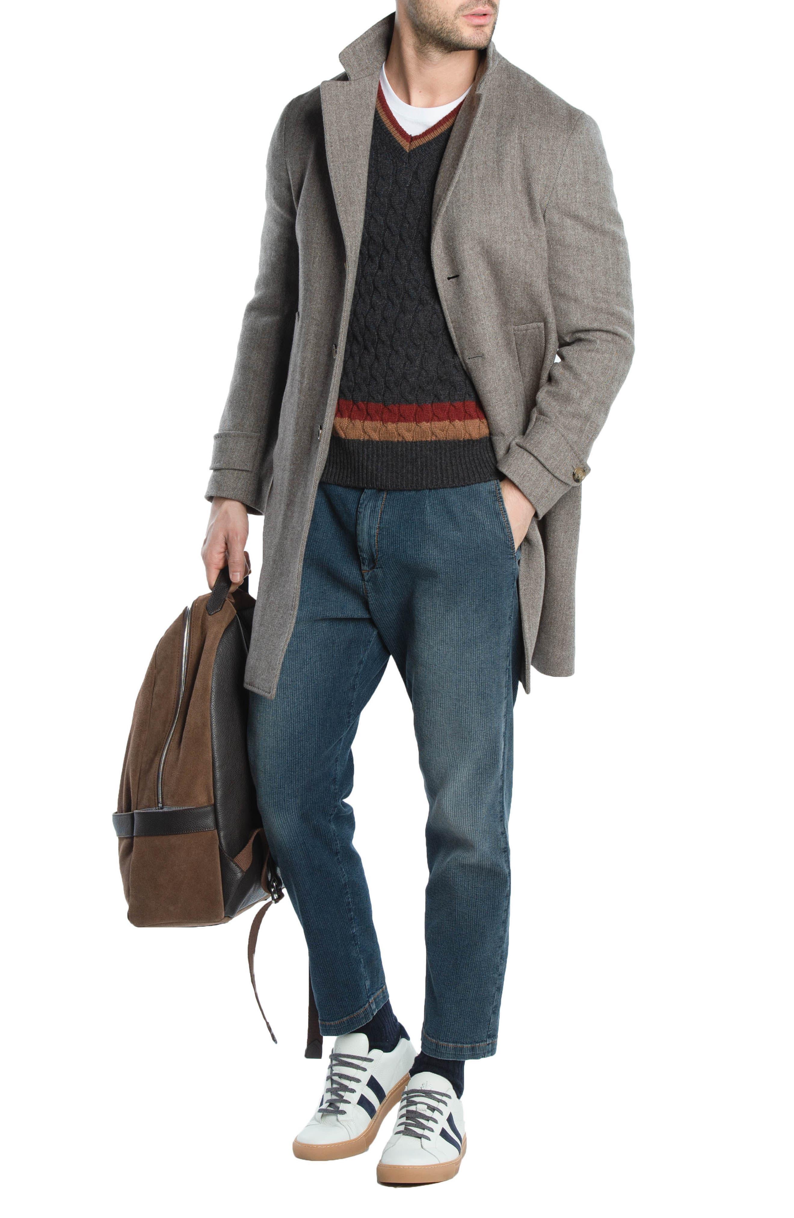 Cableknit Cashmere V-Neck Sweater,                             Alternate thumbnail 3, color,                             DARK GREY