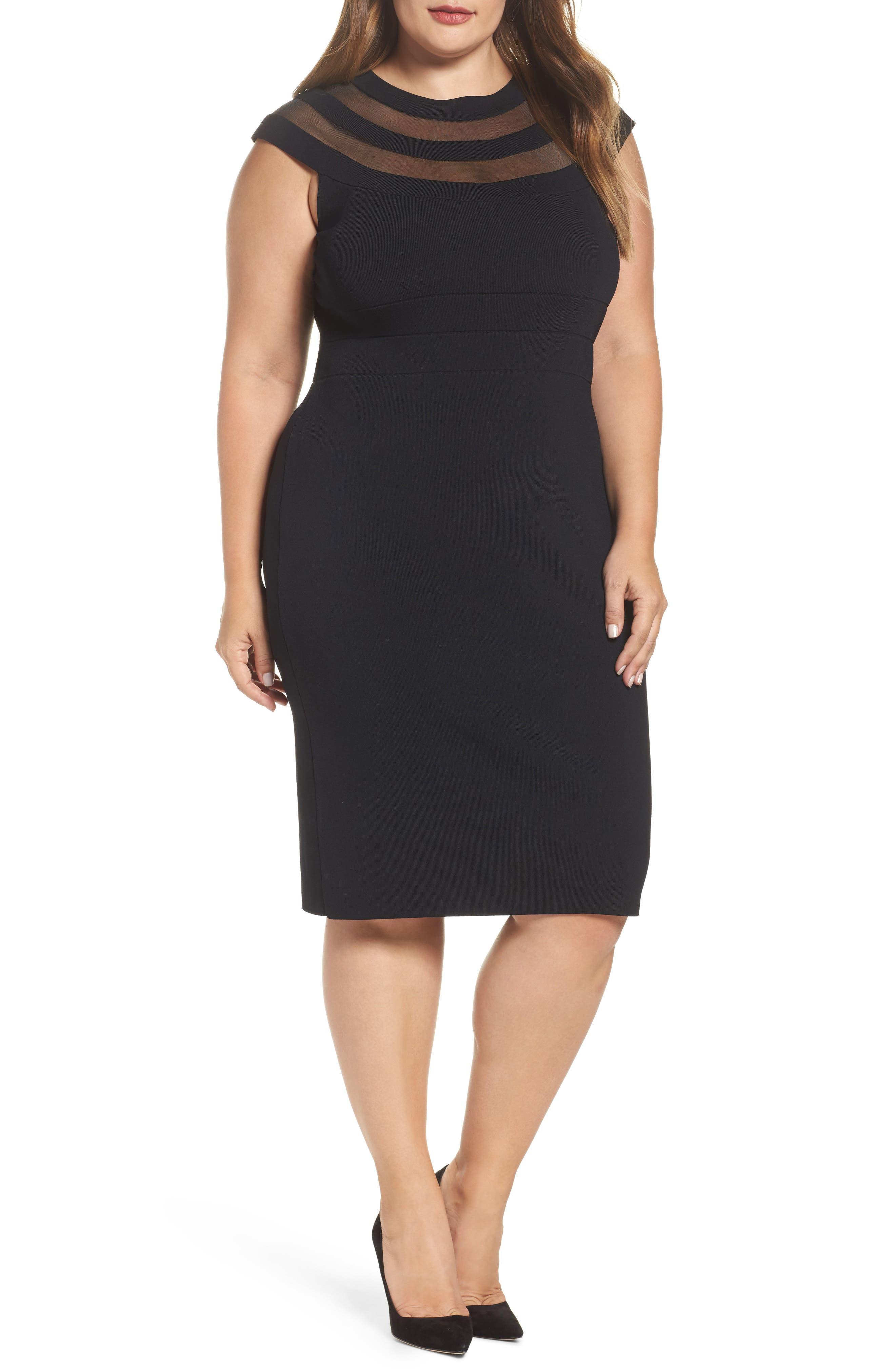 Sheer Inset Knit Sheath Dress,                             Main thumbnail 1, color,                             001