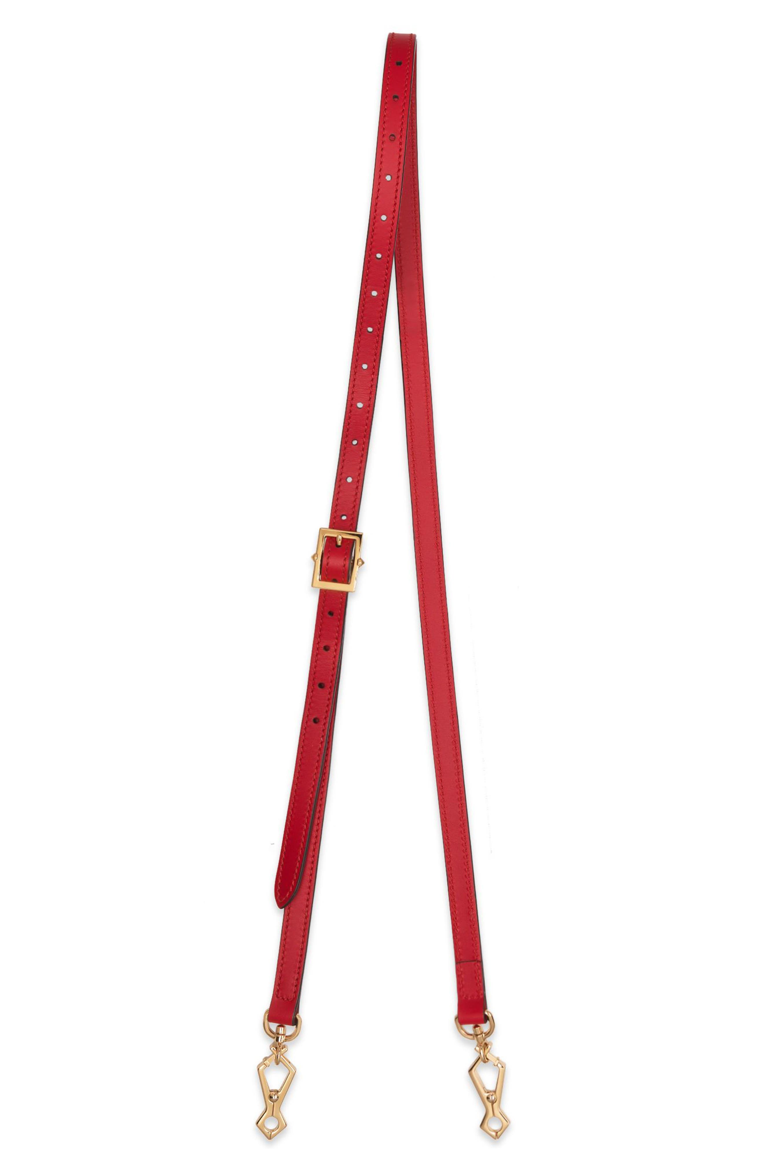 Sylvie Leather Crossbody Strap,                             Main thumbnail 1, color,                             HIBISCUS RED