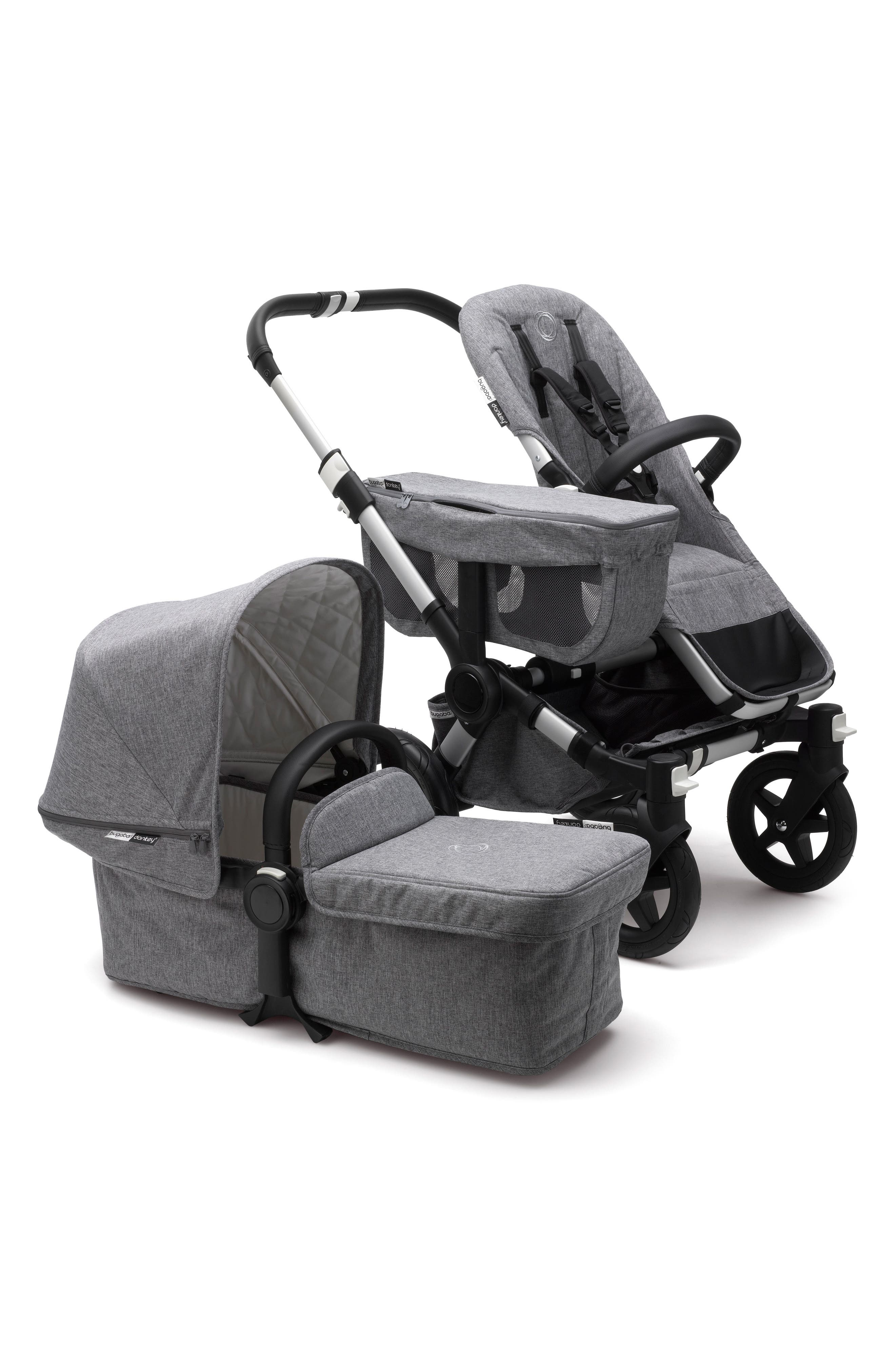 Donkey2 Classic Mono Complete Stroller with Bassinet,                         Main,                         color, GREY MELANGE/ ALUMINUM