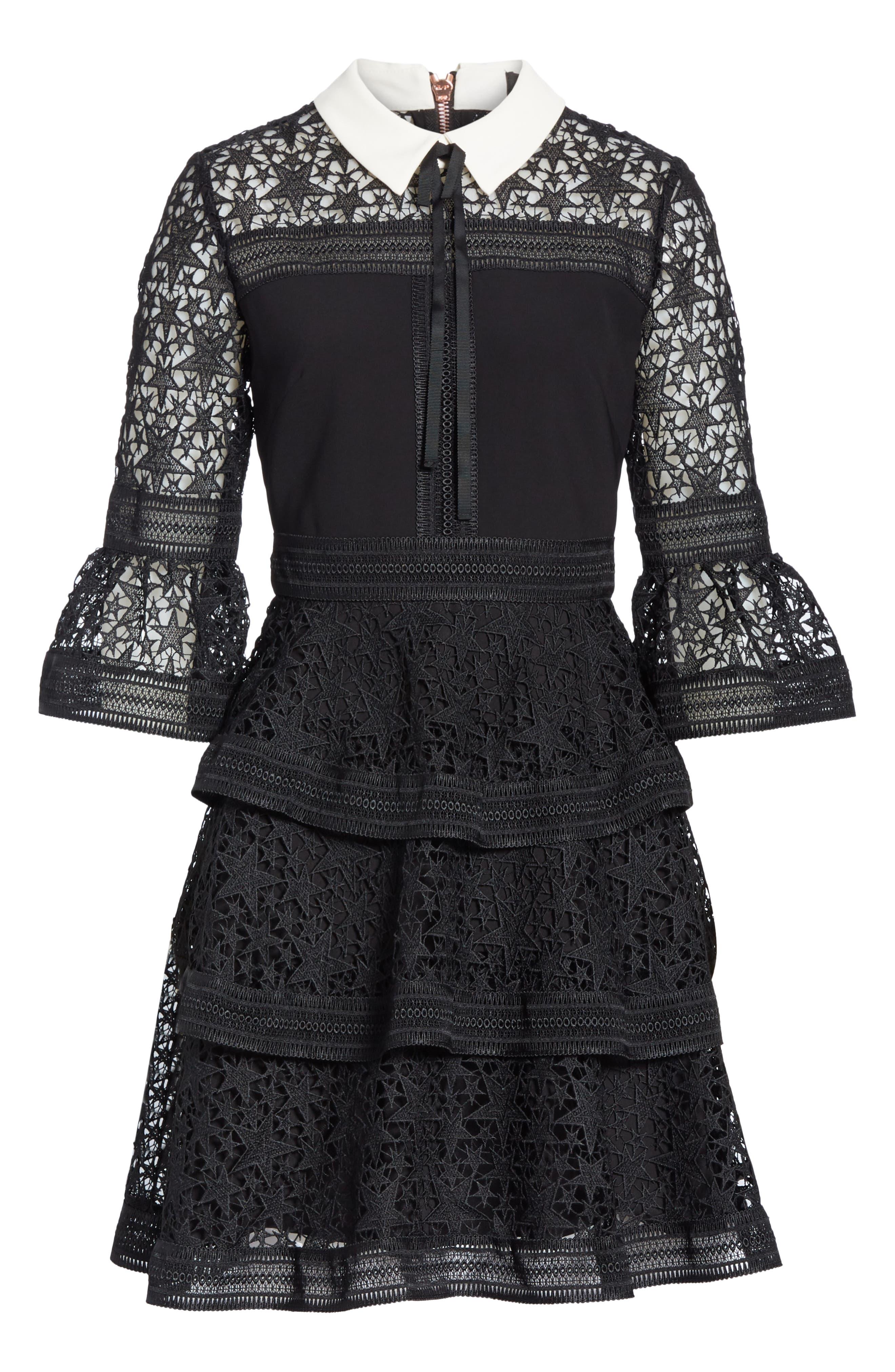 Star Lace Ruffle Dress,                             Alternate thumbnail 6, color,                             BLACK
