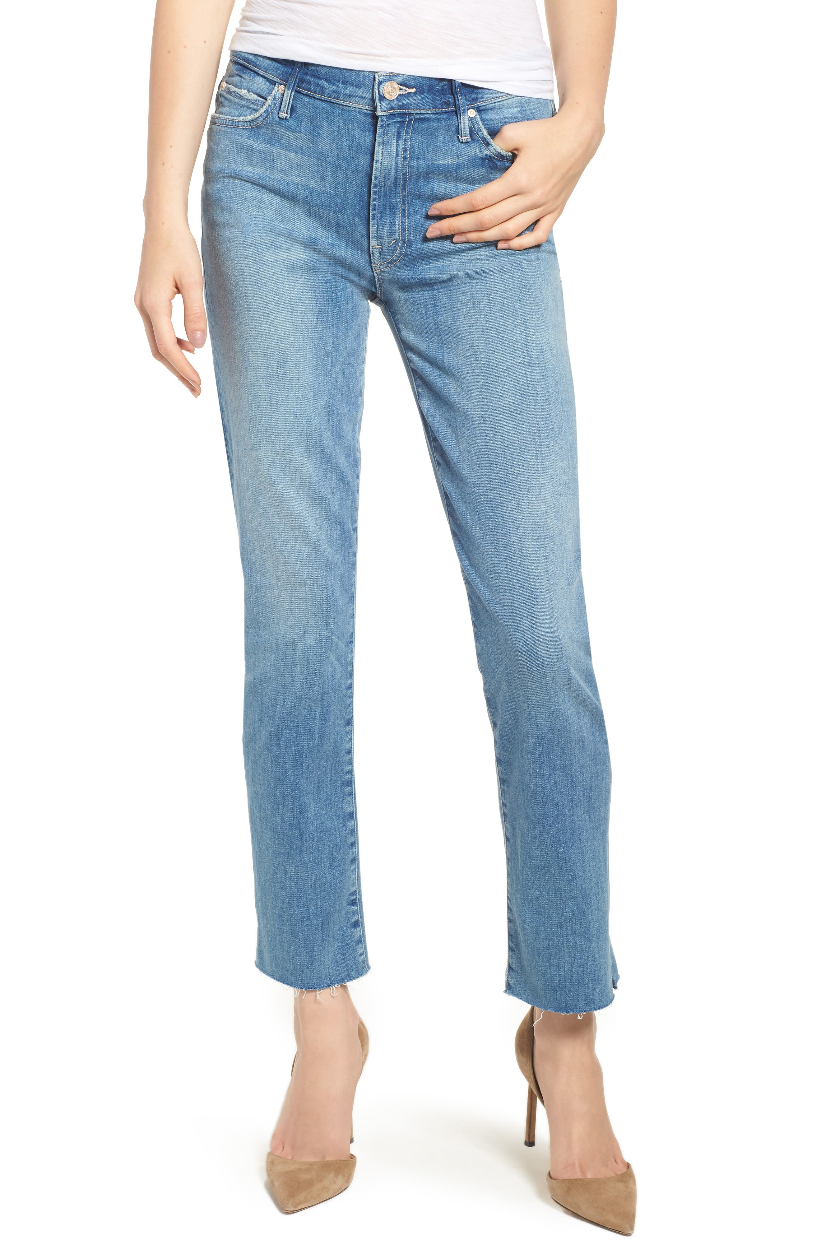 MOTHER The Rascal Ankle Snippet Straight Leg Jeans, Main, color, 400