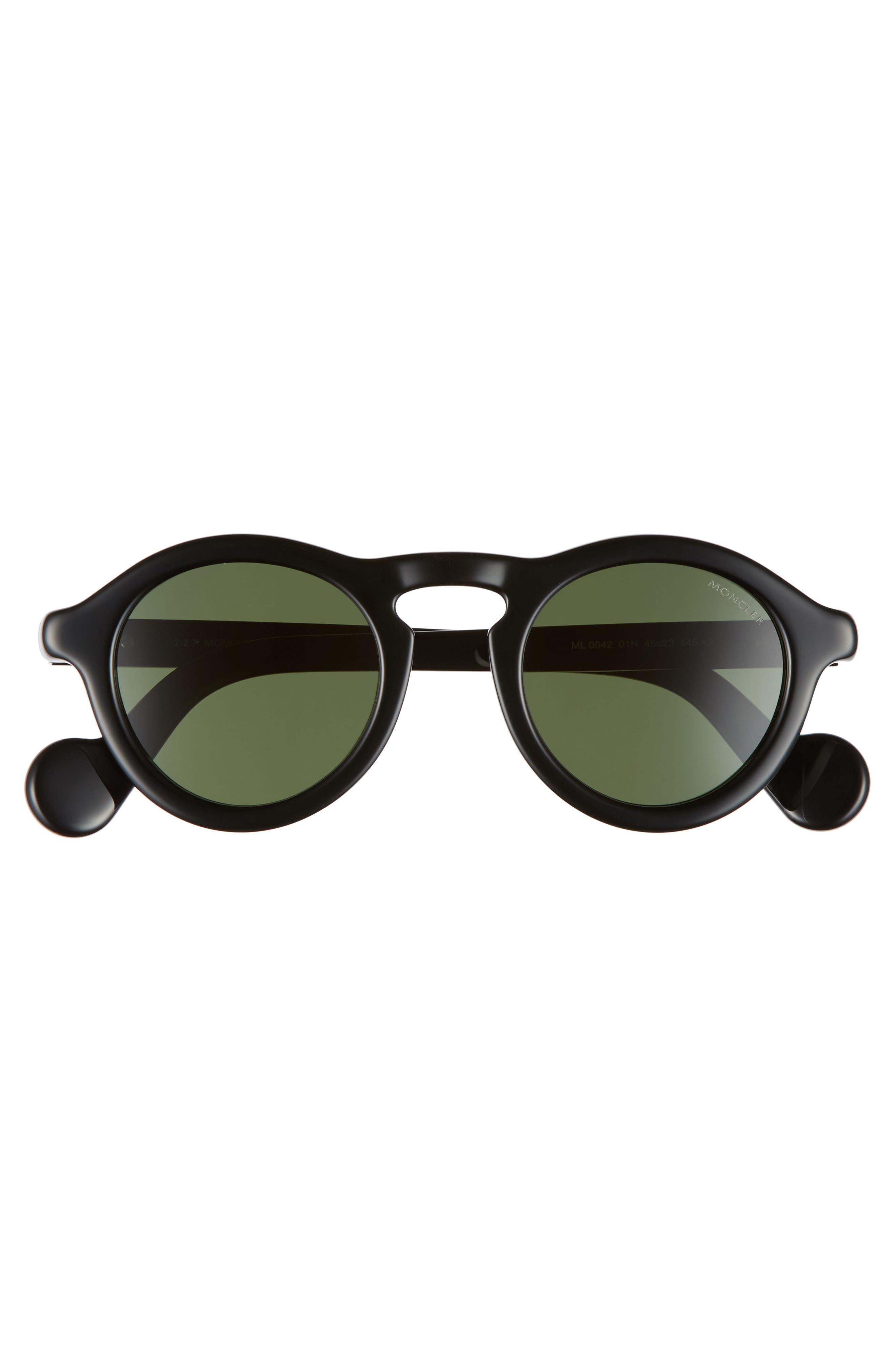 46mm Round Sunglasses,                             Alternate thumbnail 2, color,                             SHINY BLACK/ GREEN