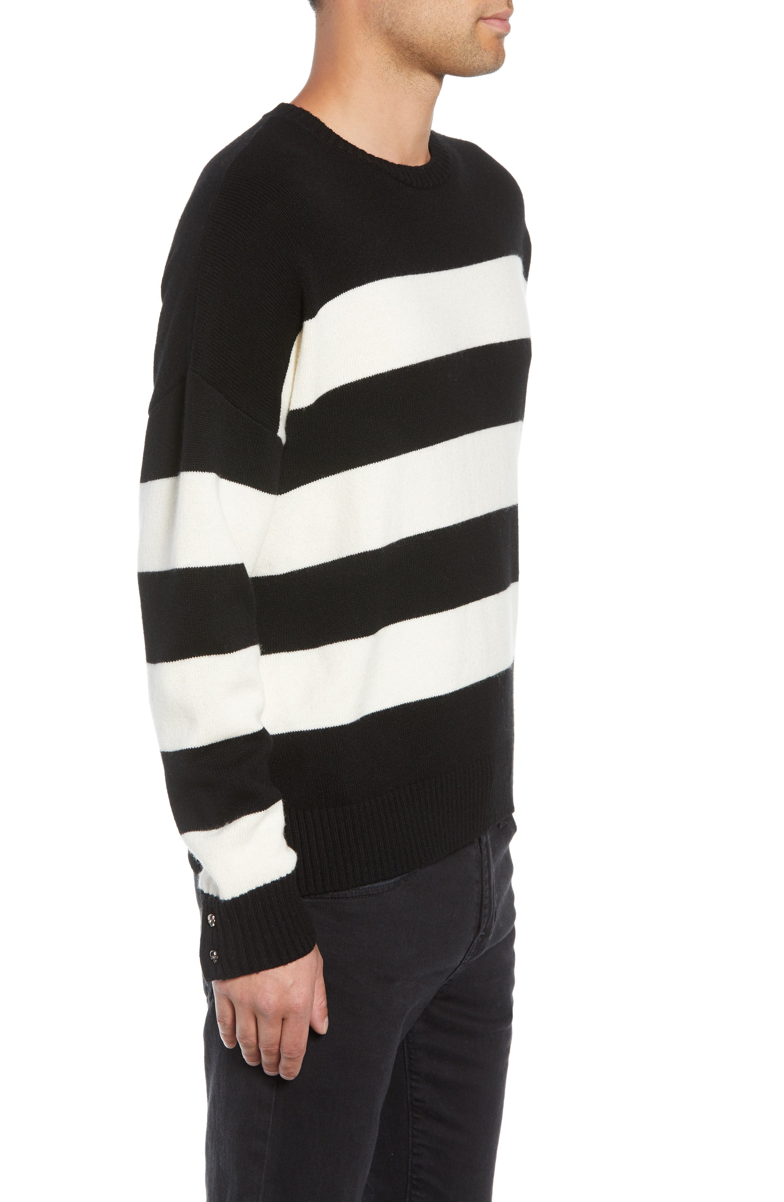 THE KOOPLES,                             Classic Fit Striped Sweater,                             Alternate thumbnail 3, color,                             001