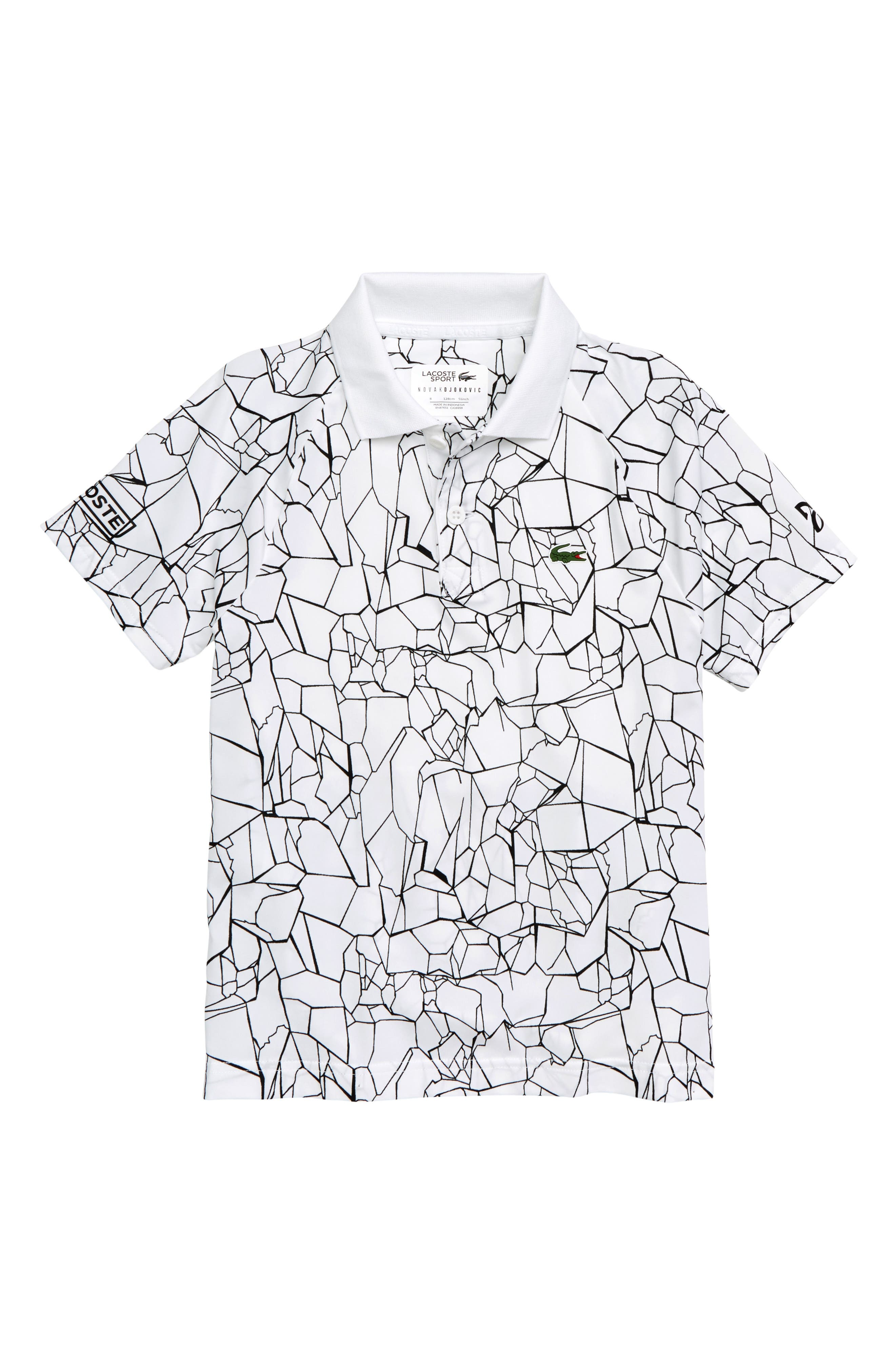 LACOSTE,                             Djoko Print Polo,                             Main thumbnail 1, color,                             WHITE / BLACK