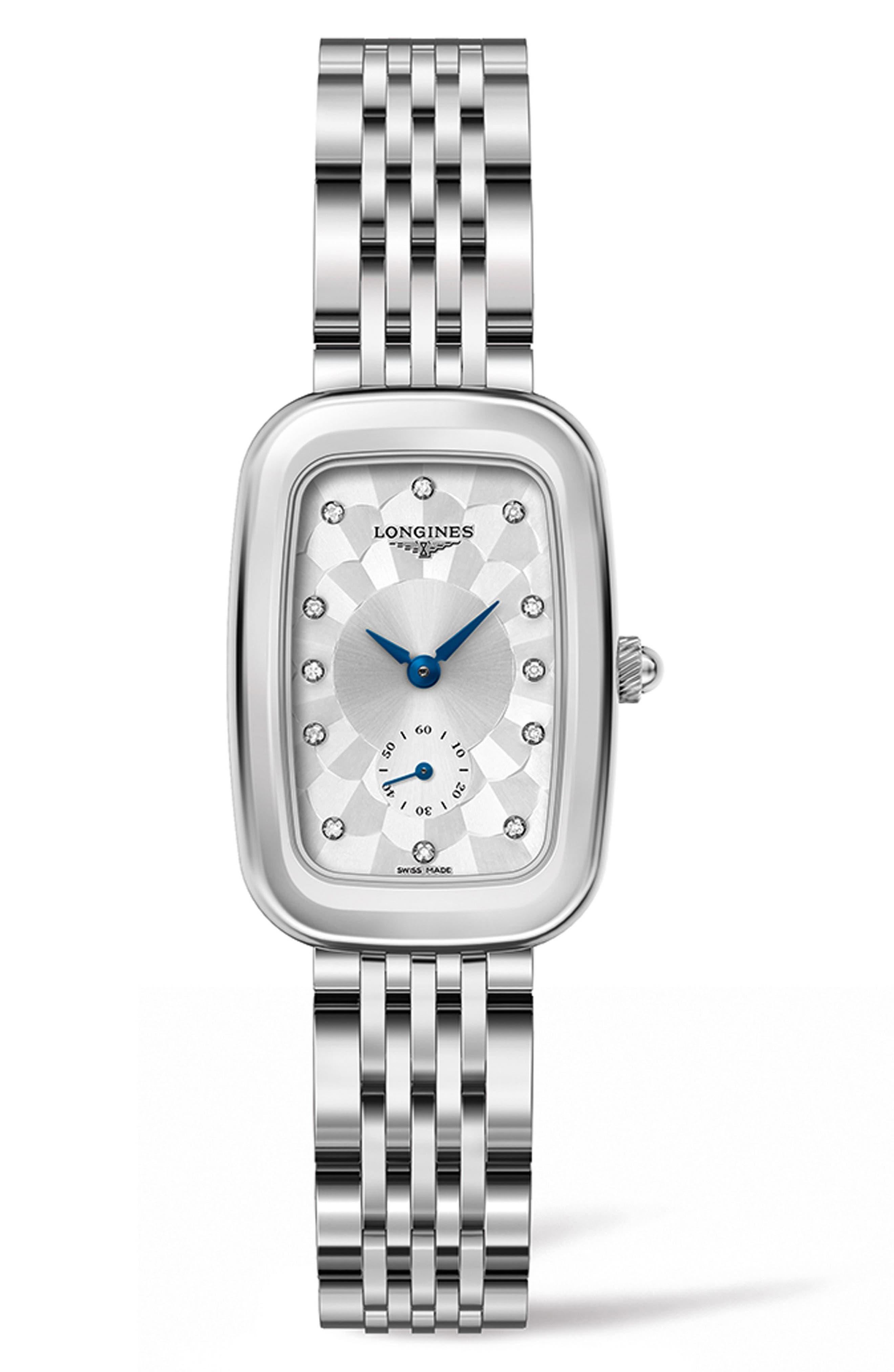Equestrian Bouclé Diamond Bracelet Watch, 24.7mm x 36mm,                         Main,                         color, SILVER
