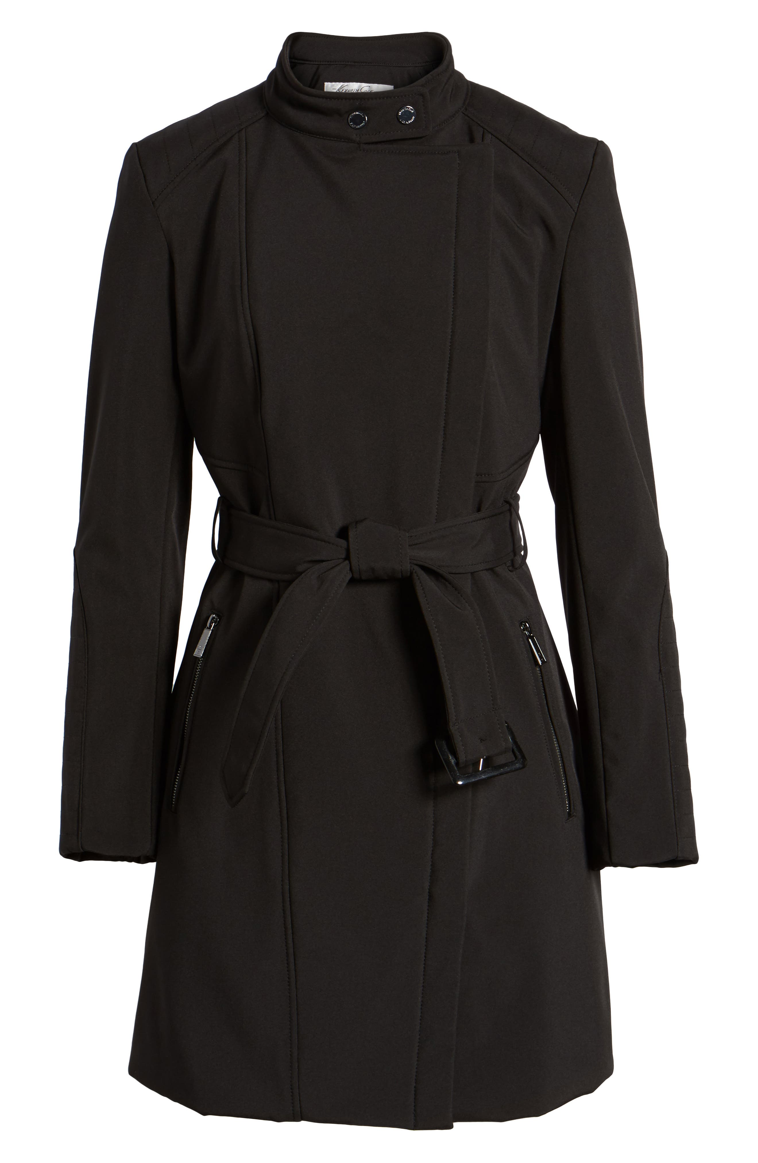 Asymmetrical Belted Trench Coat,                             Alternate thumbnail 6, color,                             001