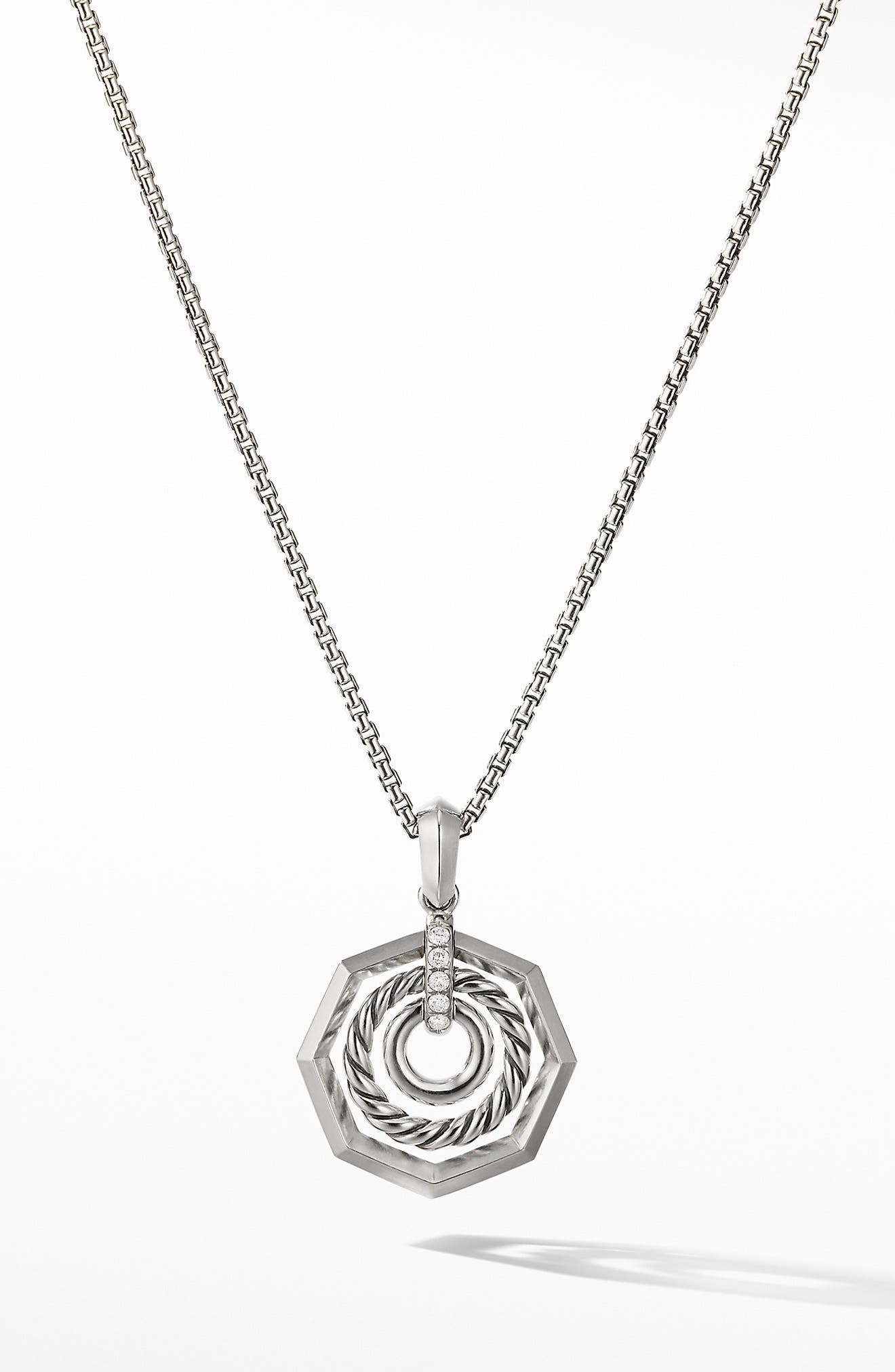 Stax Pendant Necklace with Diamonds,                         Main,                         color, SILVER/ DIAMOND