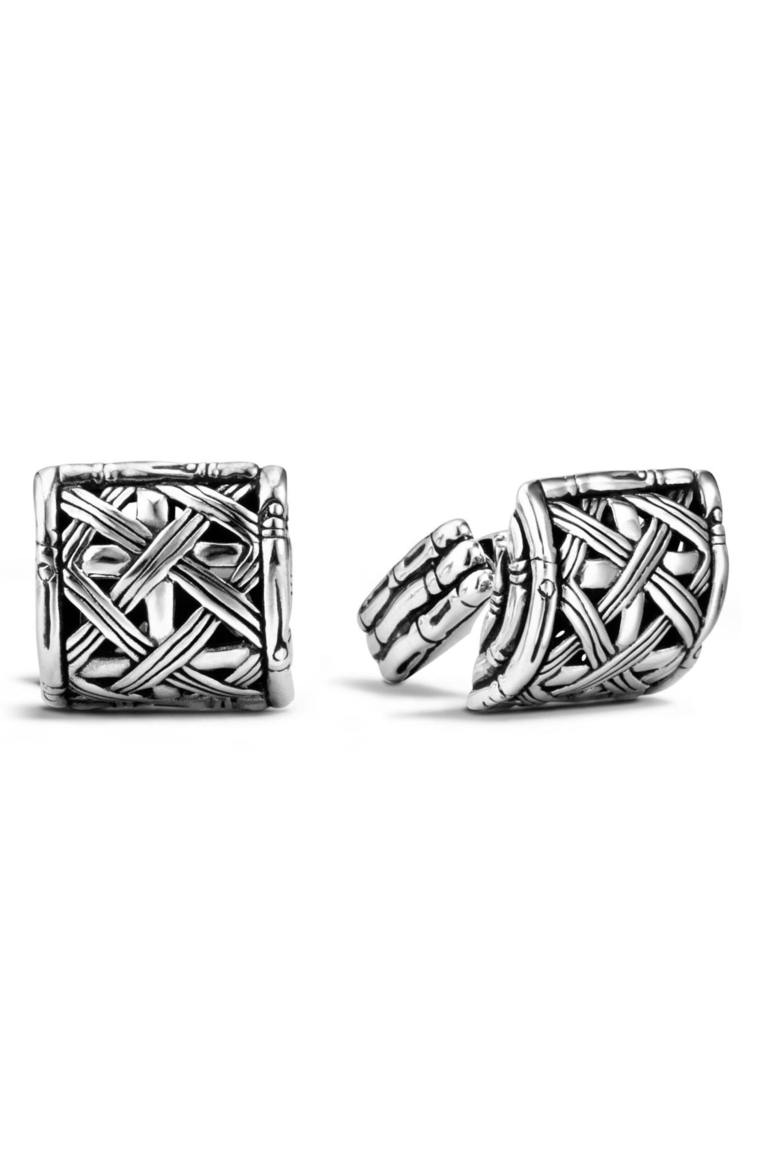 Bamboo Silver Woven Cuff Links,                             Main thumbnail 1, color,                             SILVER