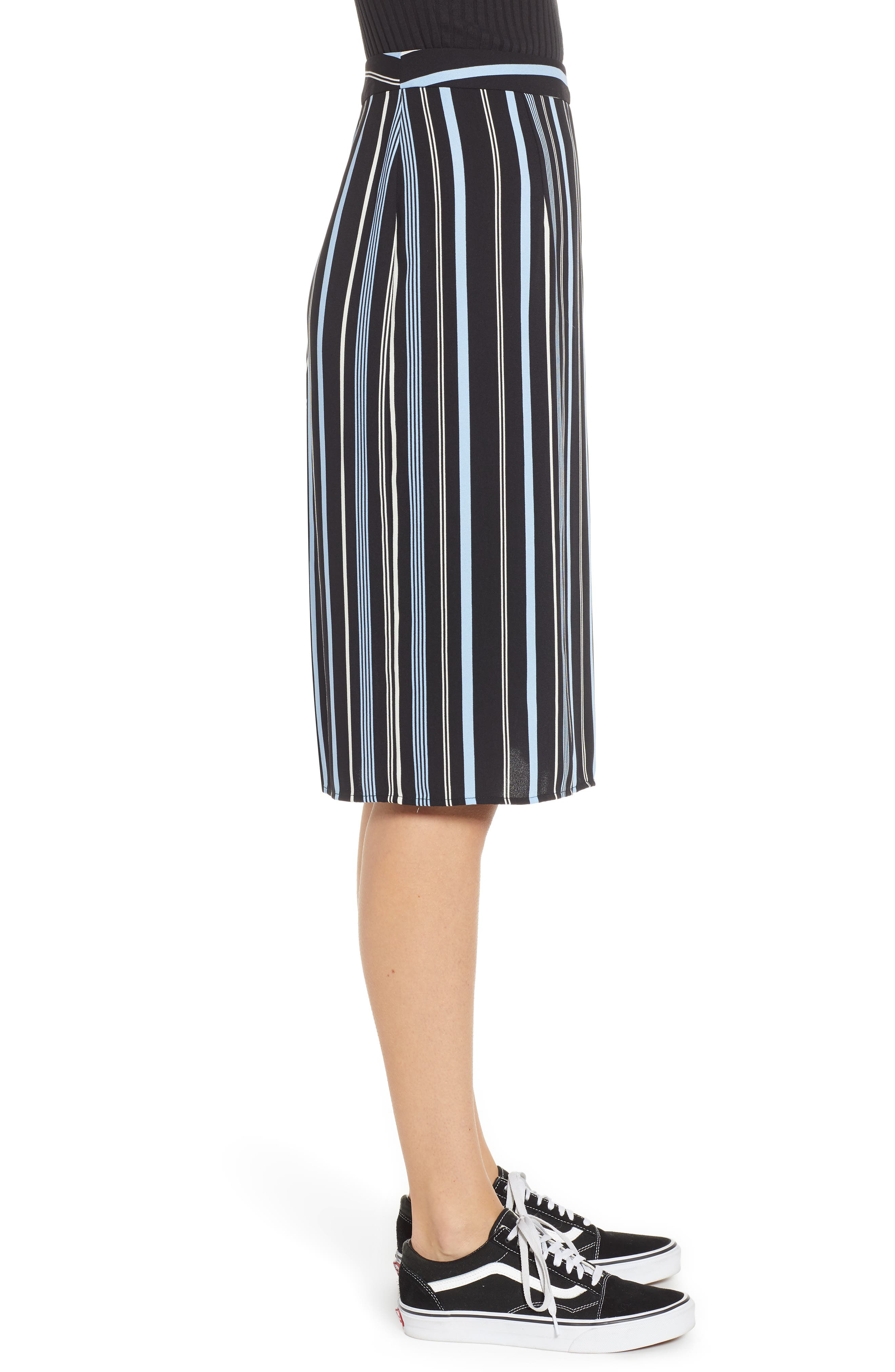 Button Wrap Skirt,                             Alternate thumbnail 4, color,                             BLACK MULTI COLORED STRIPE