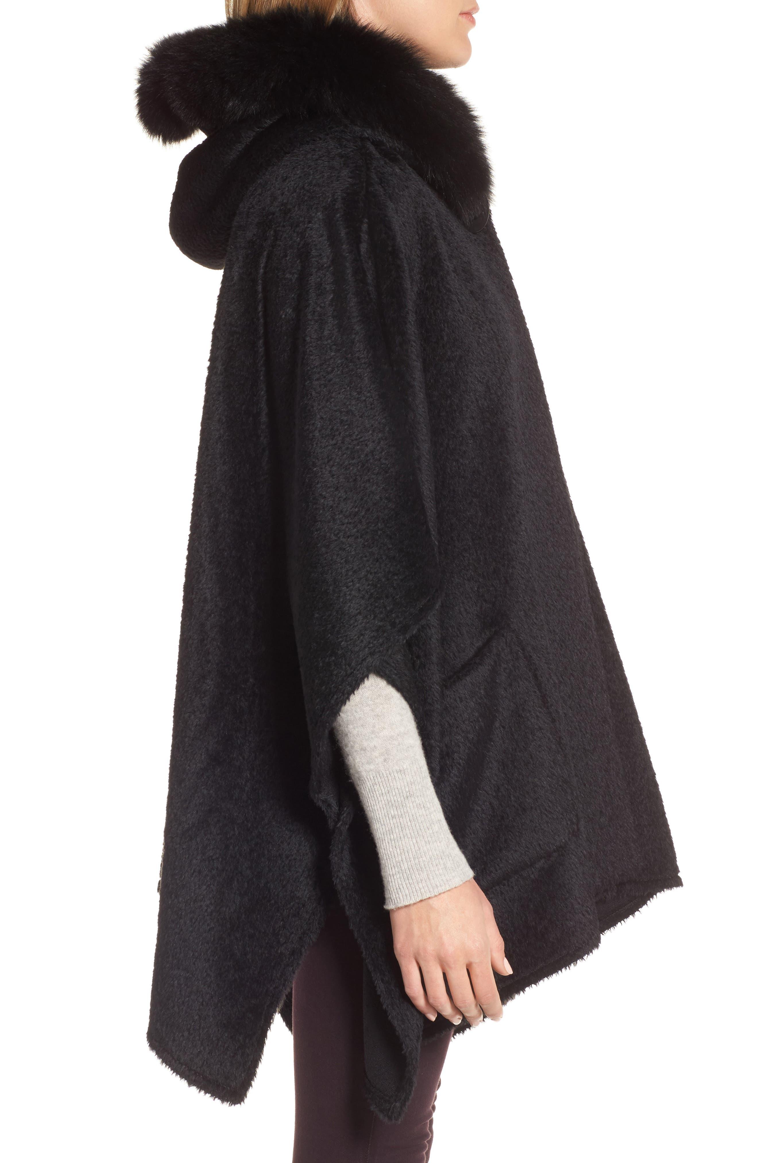 Hooded Genuine Fox Fur Trim Wool Blend Cape,                             Alternate thumbnail 3, color,                             003