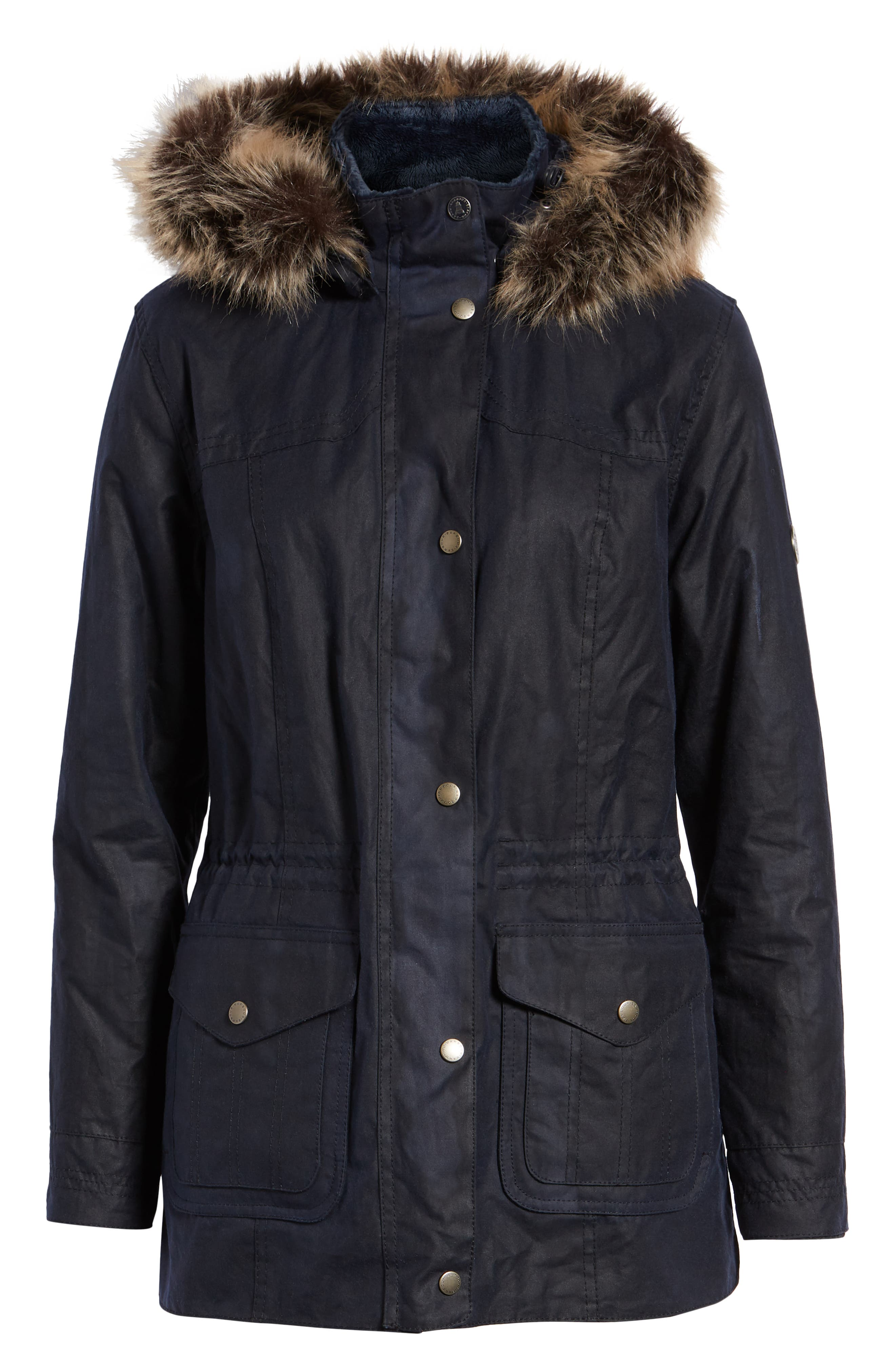 Southwold Jacket with Faux Fur Lining & Trim,                             Alternate thumbnail 6, color,                             ROYAL NAVY
