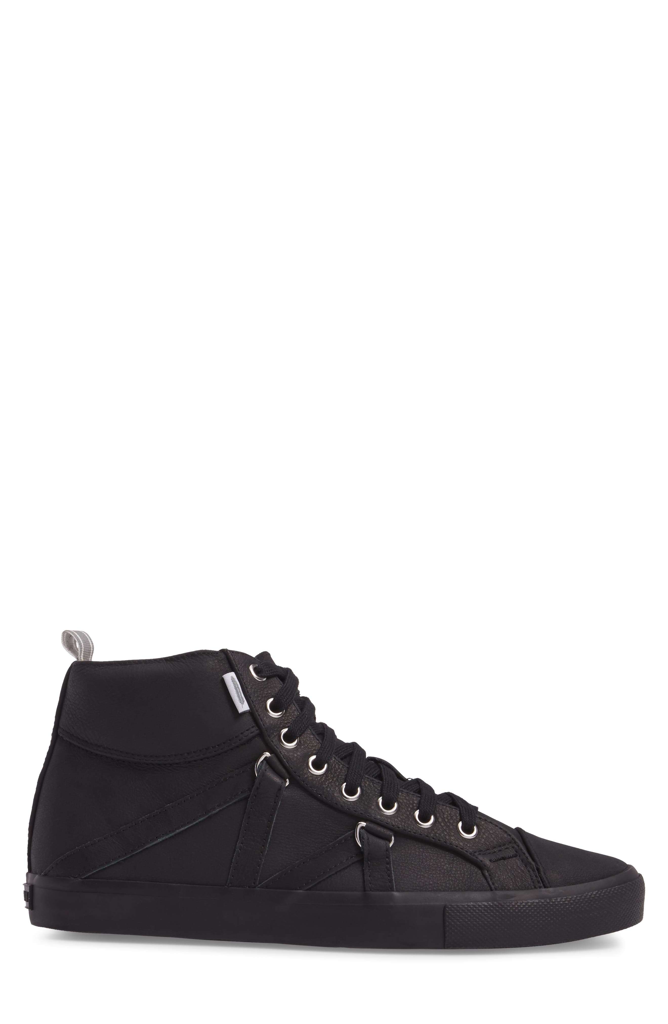 Signature High Top Sneaker,                             Alternate thumbnail 3, color,                             NERO LEATHER