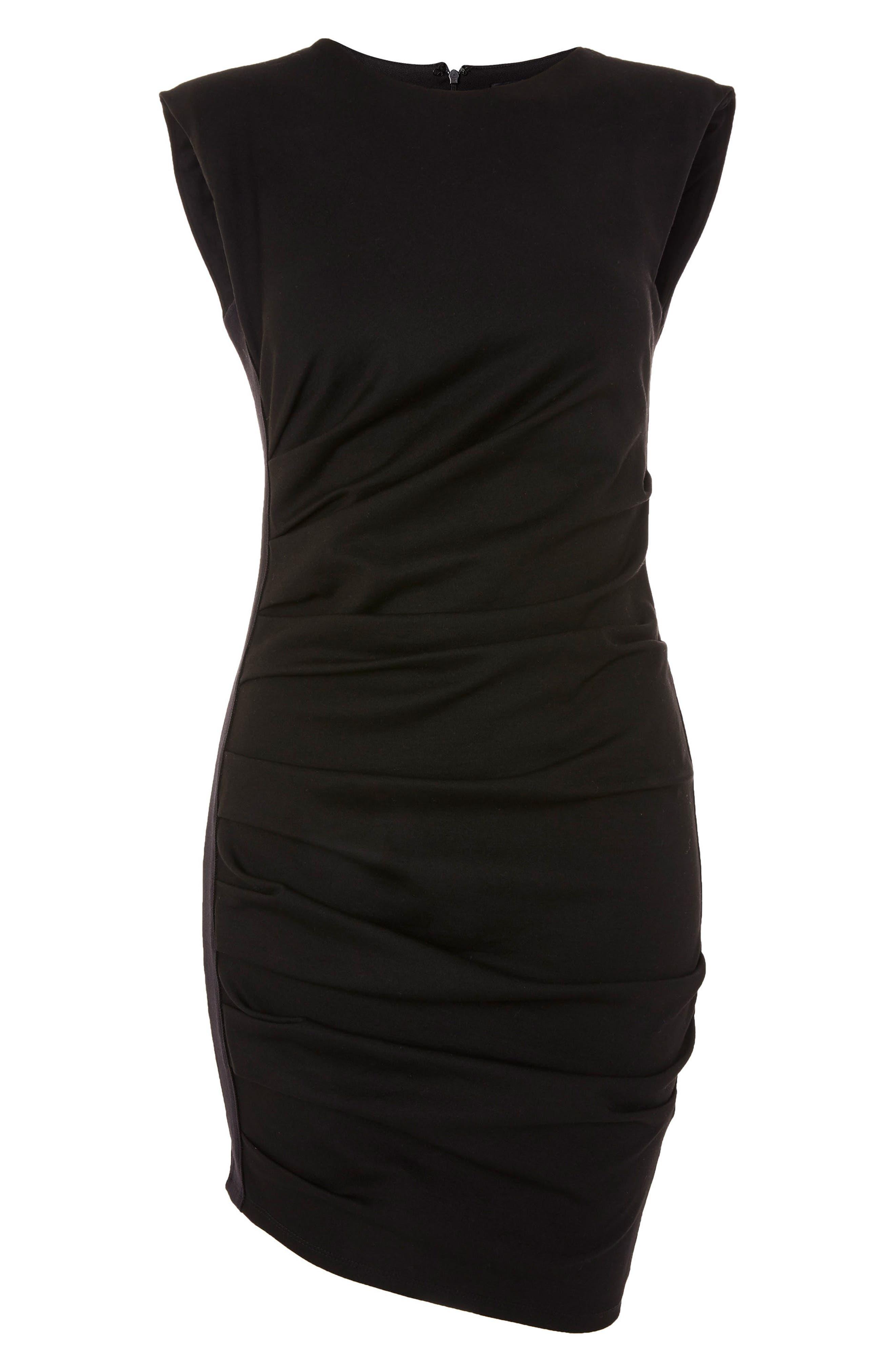 Shoulder Pad Body-Con Minidress,                             Alternate thumbnail 3, color,                             001